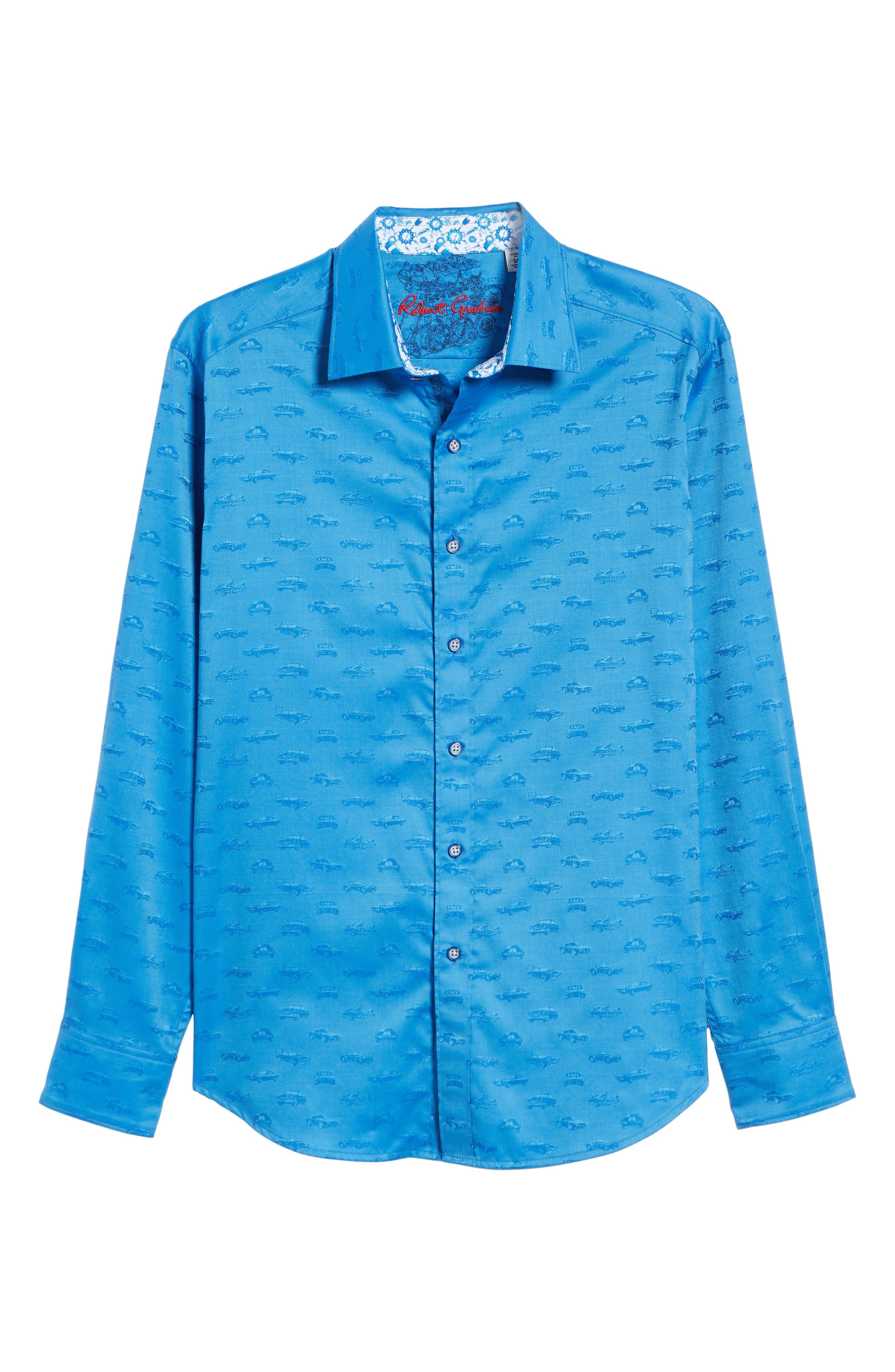 ROBERT GRAHAM,                             Car Enthusiast Jacquard Sport Shirt,                             Alternate thumbnail 5, color,                             COBALT