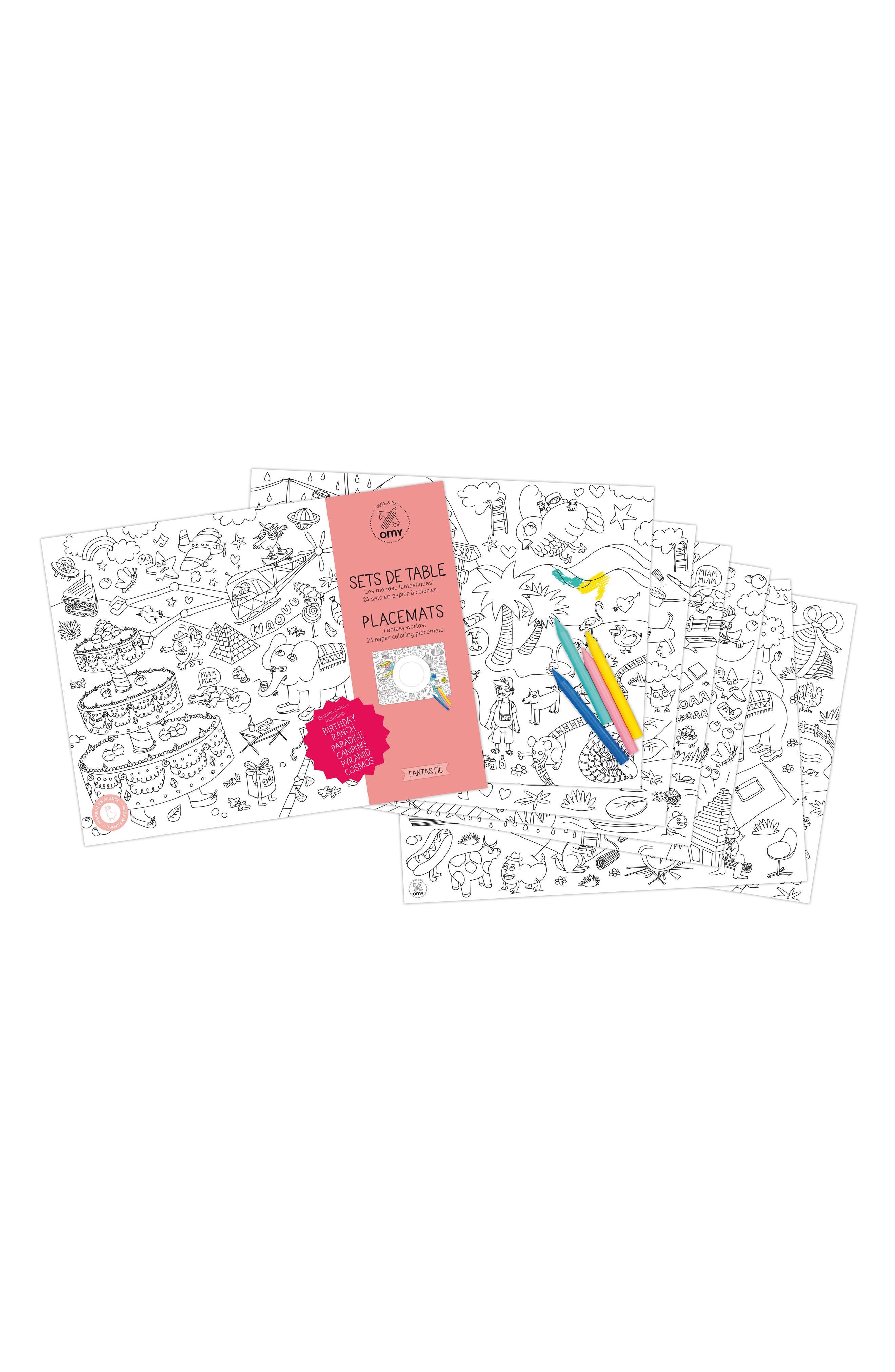 Fantastic Set of 24 Coloring Placemats,                         Main,                         color, 100