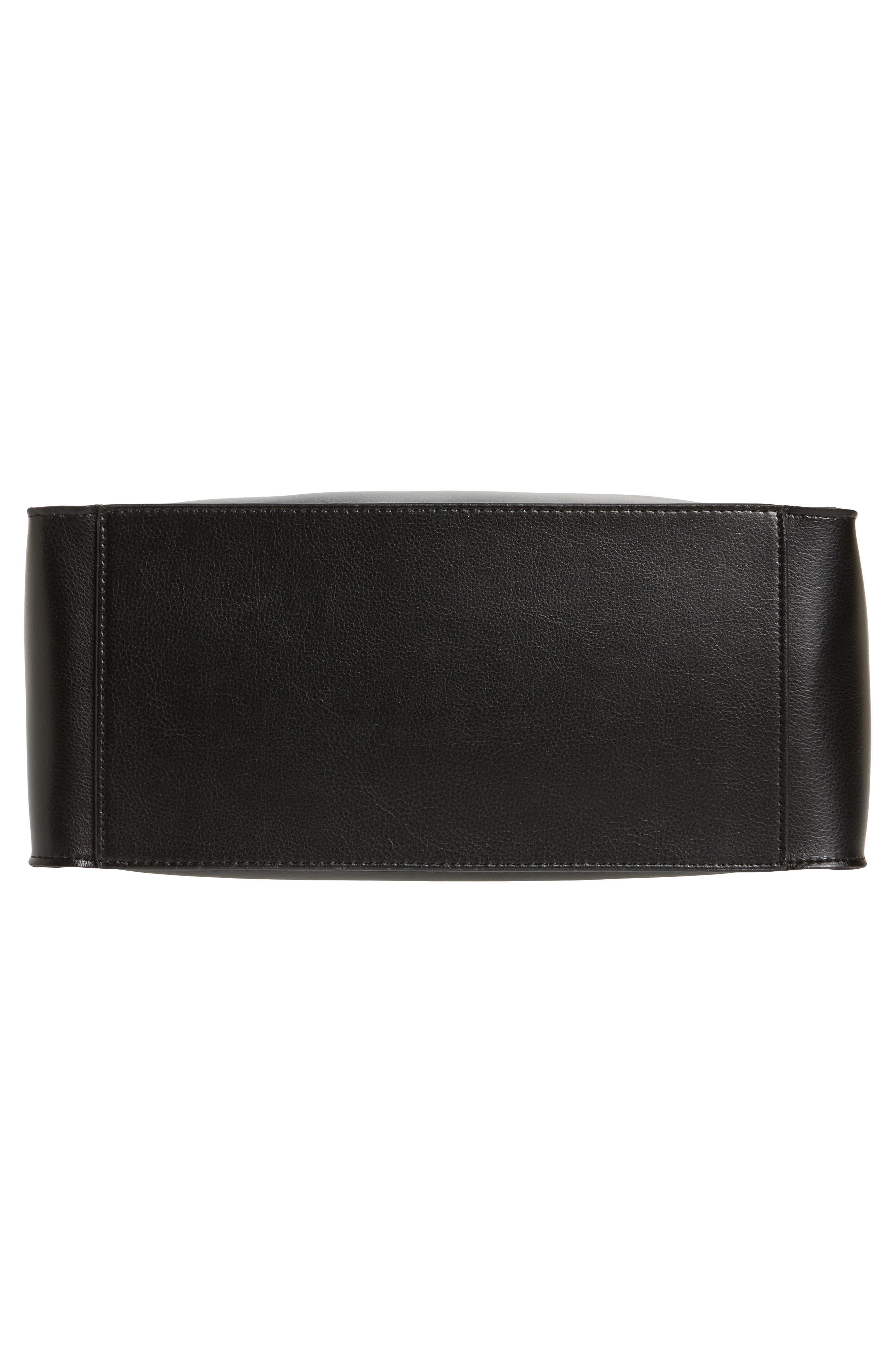 Karlie Faux Leather Bucket Bag,                             Alternate thumbnail 6, color,                             001