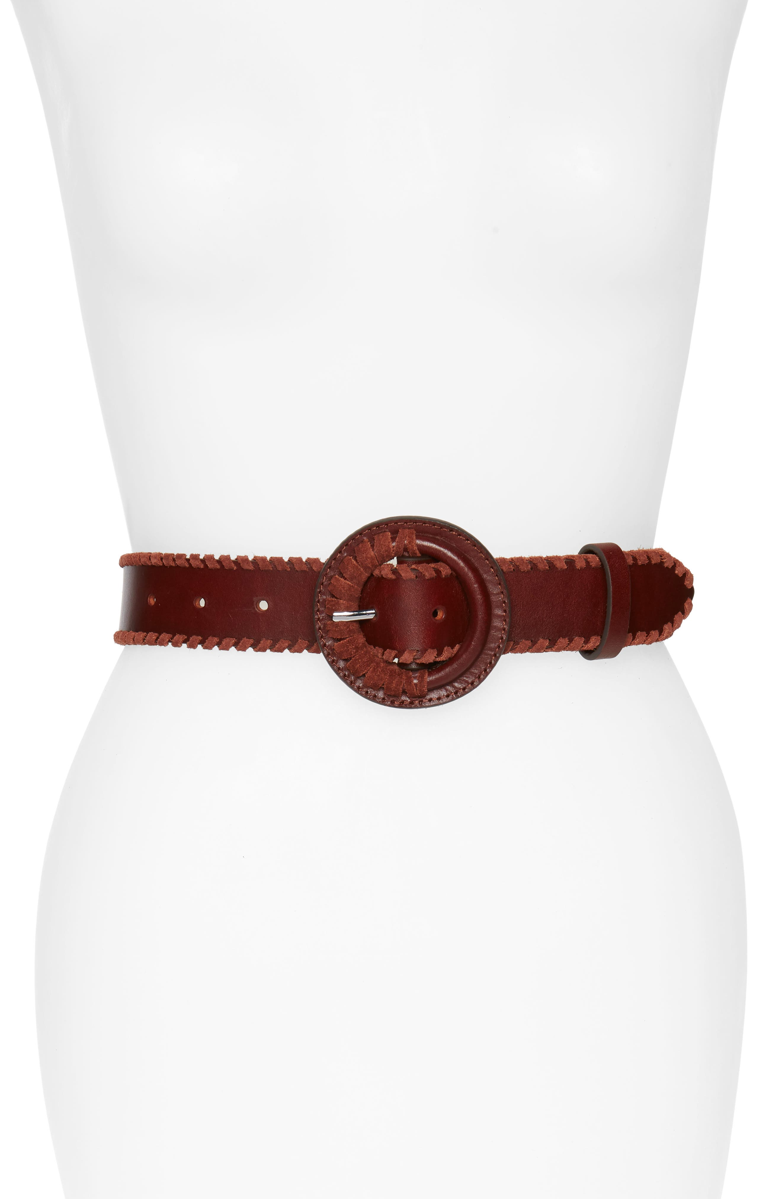 Layla Whipstitch Leather Belt, Main, color, LUGGAGE / NICKEL