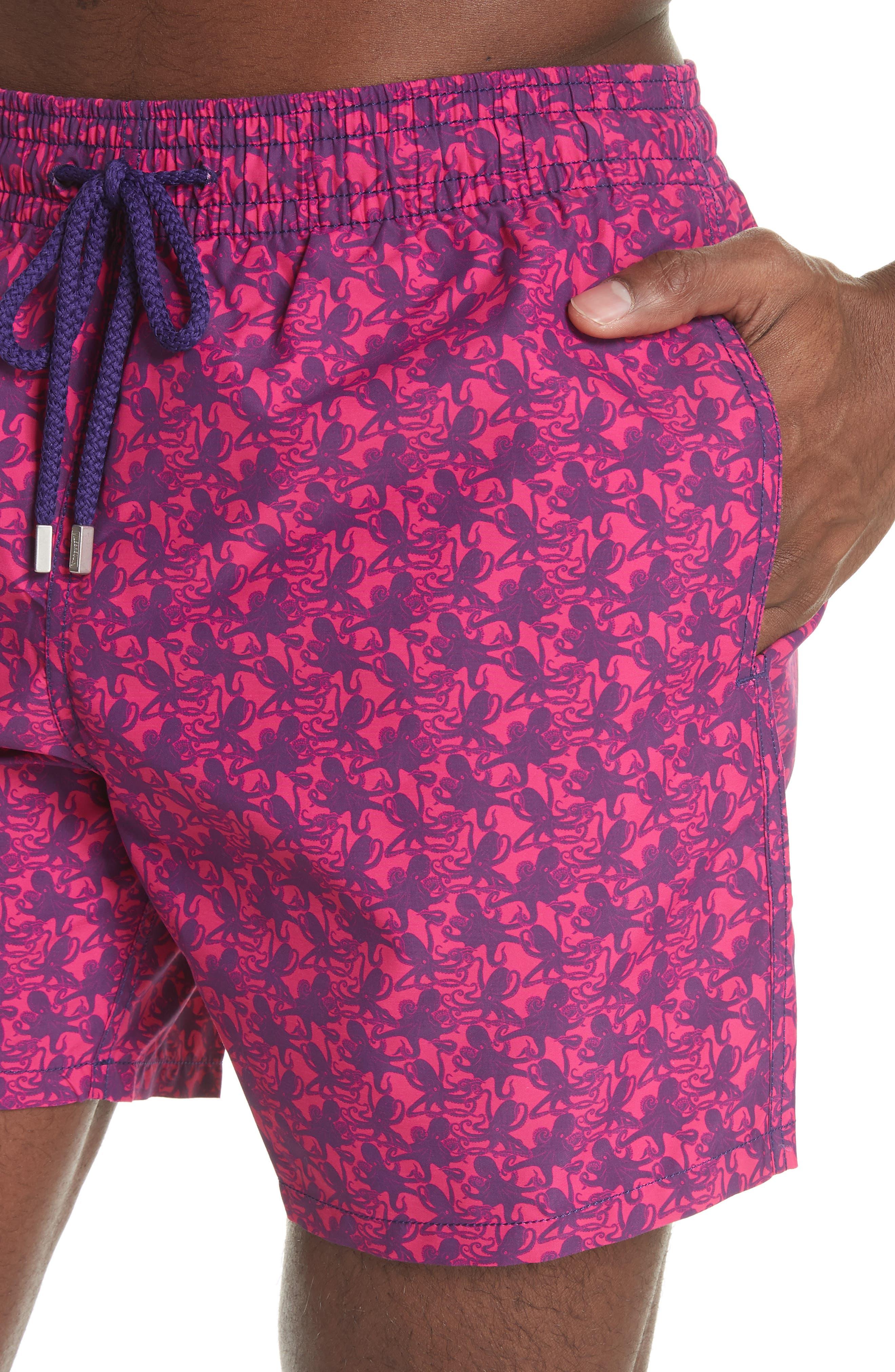 Mini Octopus Print Swim Trunks,                             Alternate thumbnail 4, color,                             SHOCKING PINK