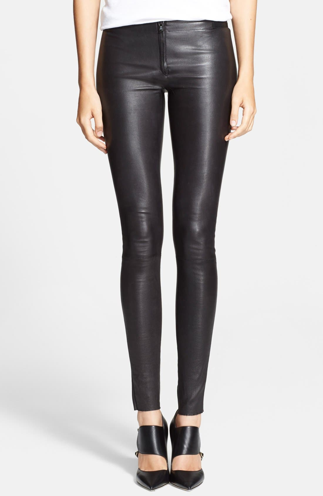 Leather Leggings,                             Main thumbnail 1, color,                             BLACK