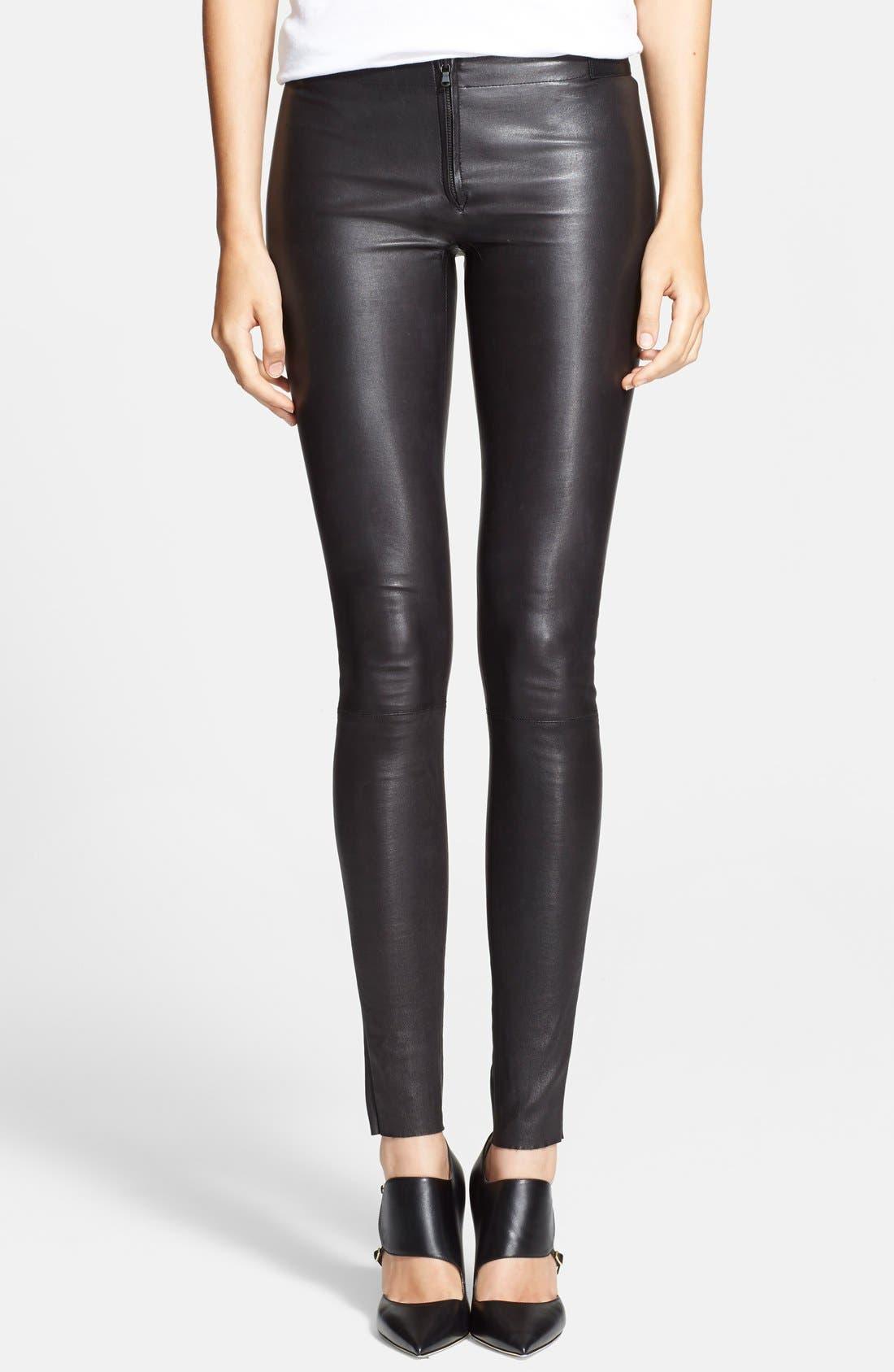 Leather Leggings,                         Main,                         color, BLACK