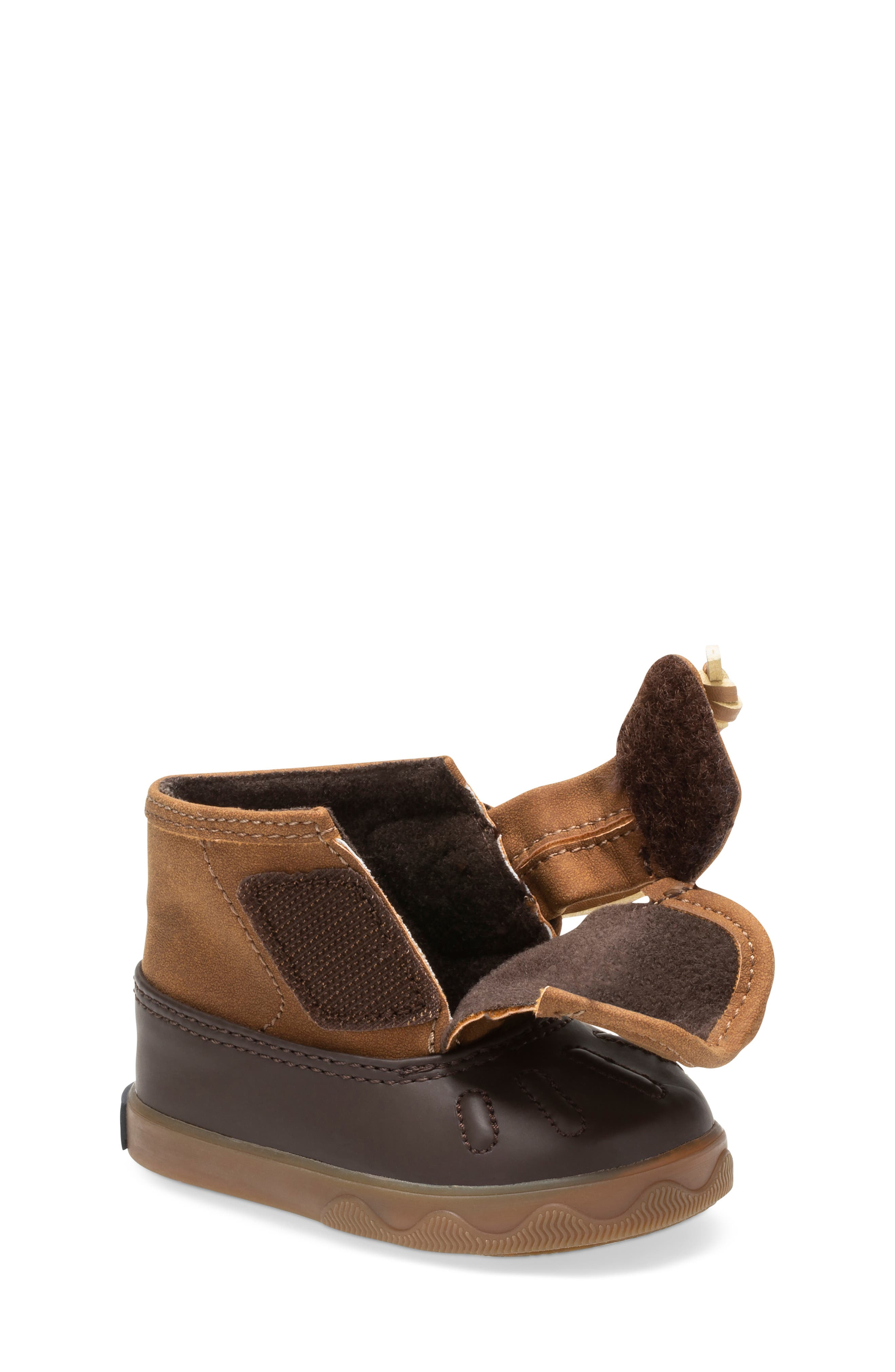 Sperry Icestorm Crib Duck Bootie,                             Alternate thumbnail 7, color,                             TAN/ BROWN