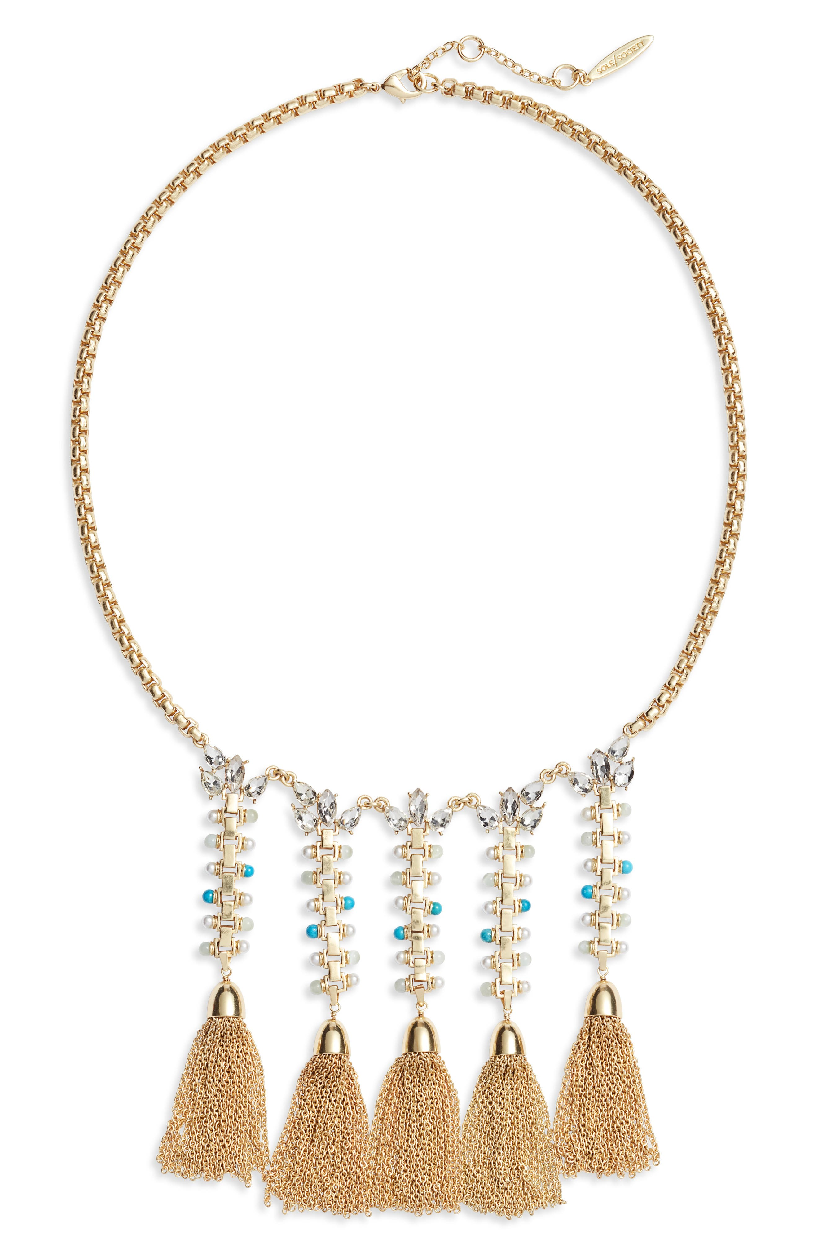 Fringe Statement Necklace,                             Main thumbnail 1, color,                             GOLD/ IVORY PEARL