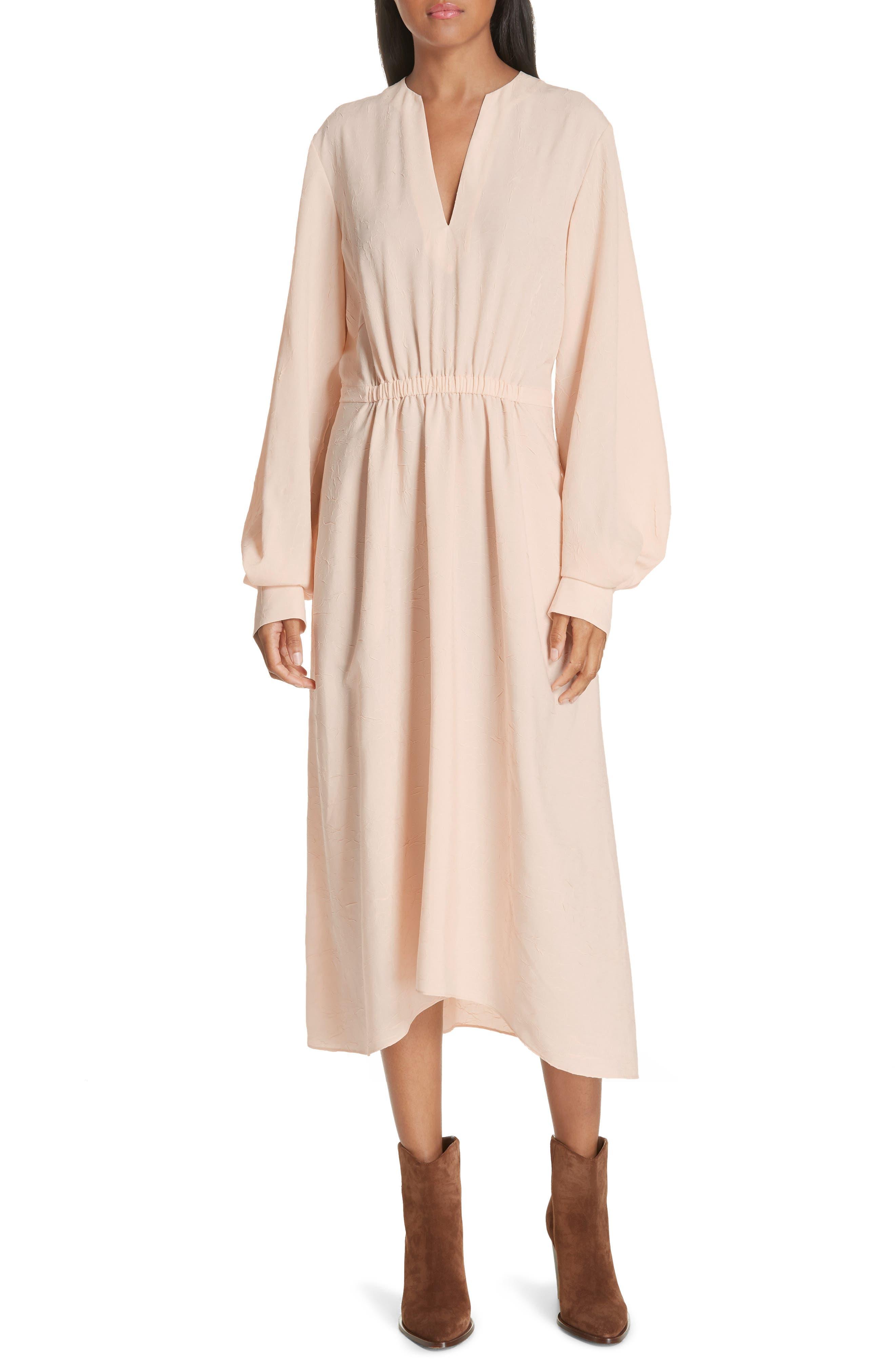 Poet Midi Dress,                         Main,                         color, SANDALWOOD