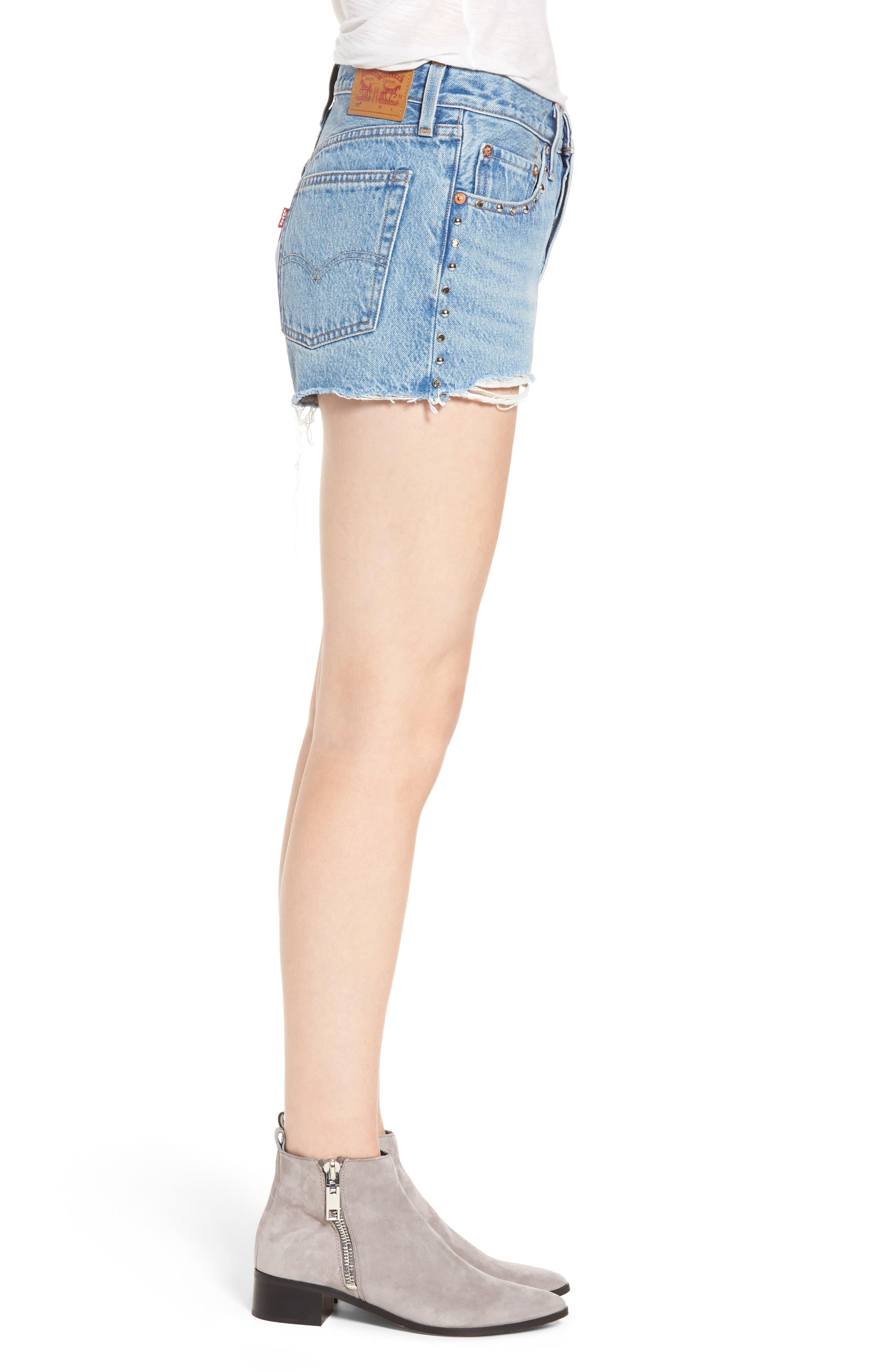 501<sup>®</sup> Distressed Cutoff Denim Shorts,                             Alternate thumbnail 3, color,                             420