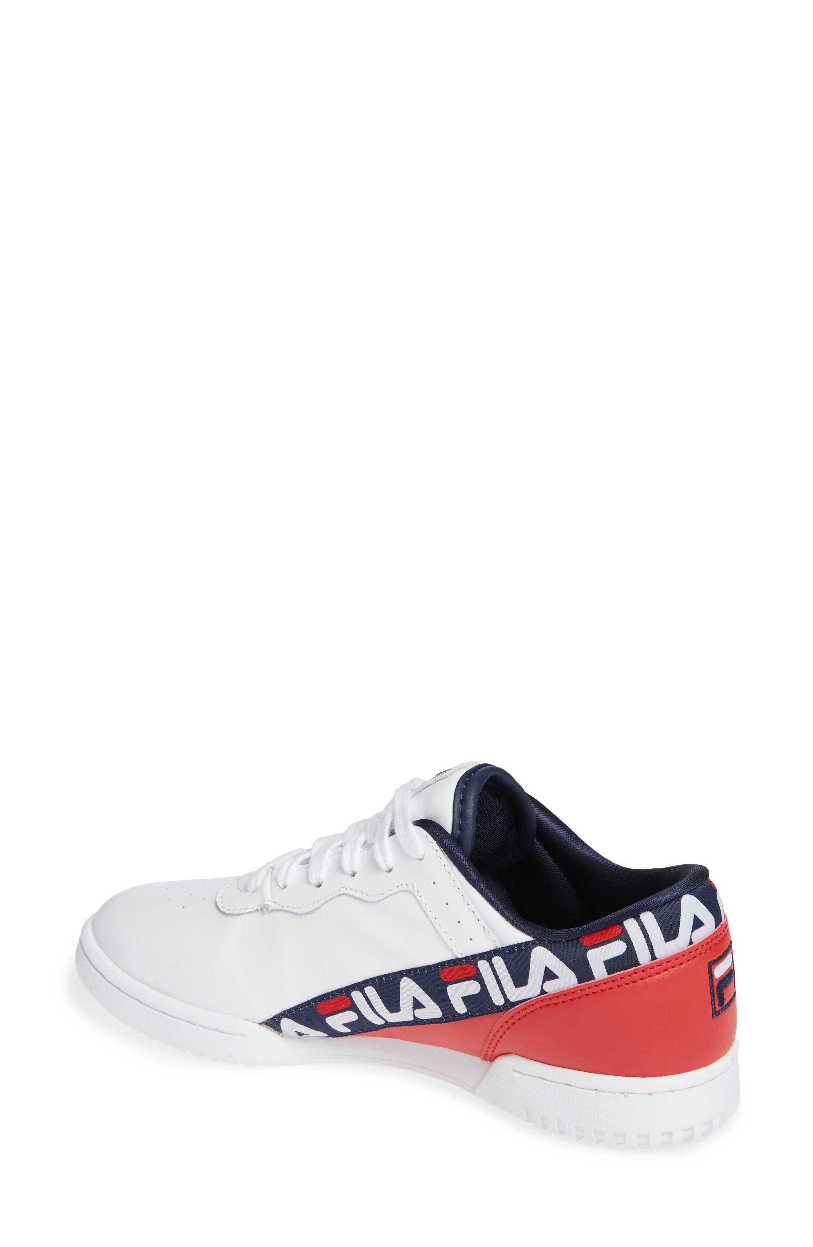 Original Fitness Logo Tape Sneaker,                             Alternate thumbnail 2, color,                             WHITE/ NAVY/ RED