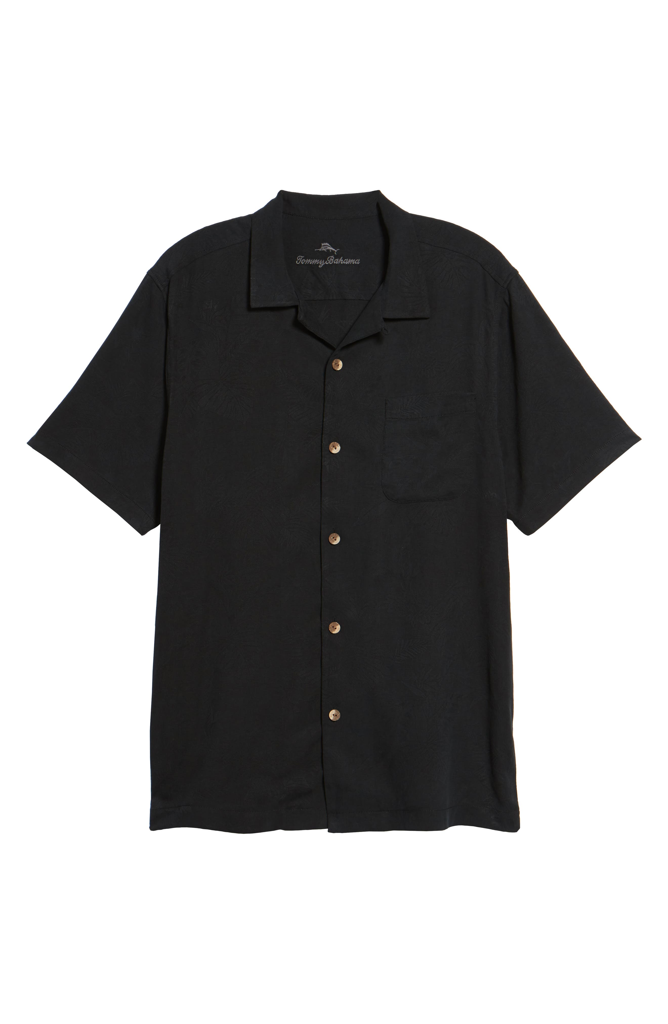 St Lucia Fronds Silk Camp Shirt,                             Alternate thumbnail 6, color,                             BLACK