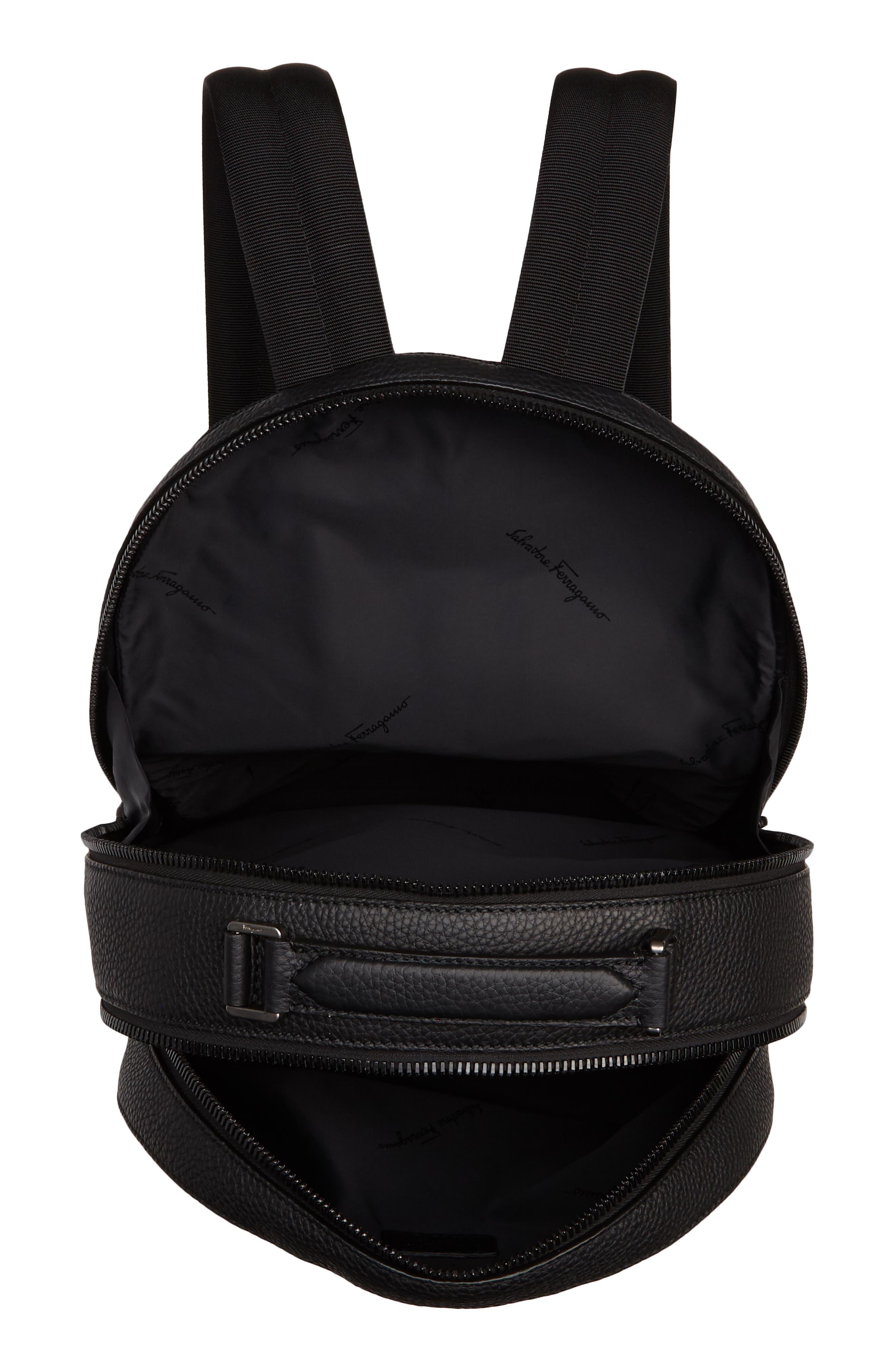 Leather Backpack,                             Alternate thumbnail 4, color,                             BLACK