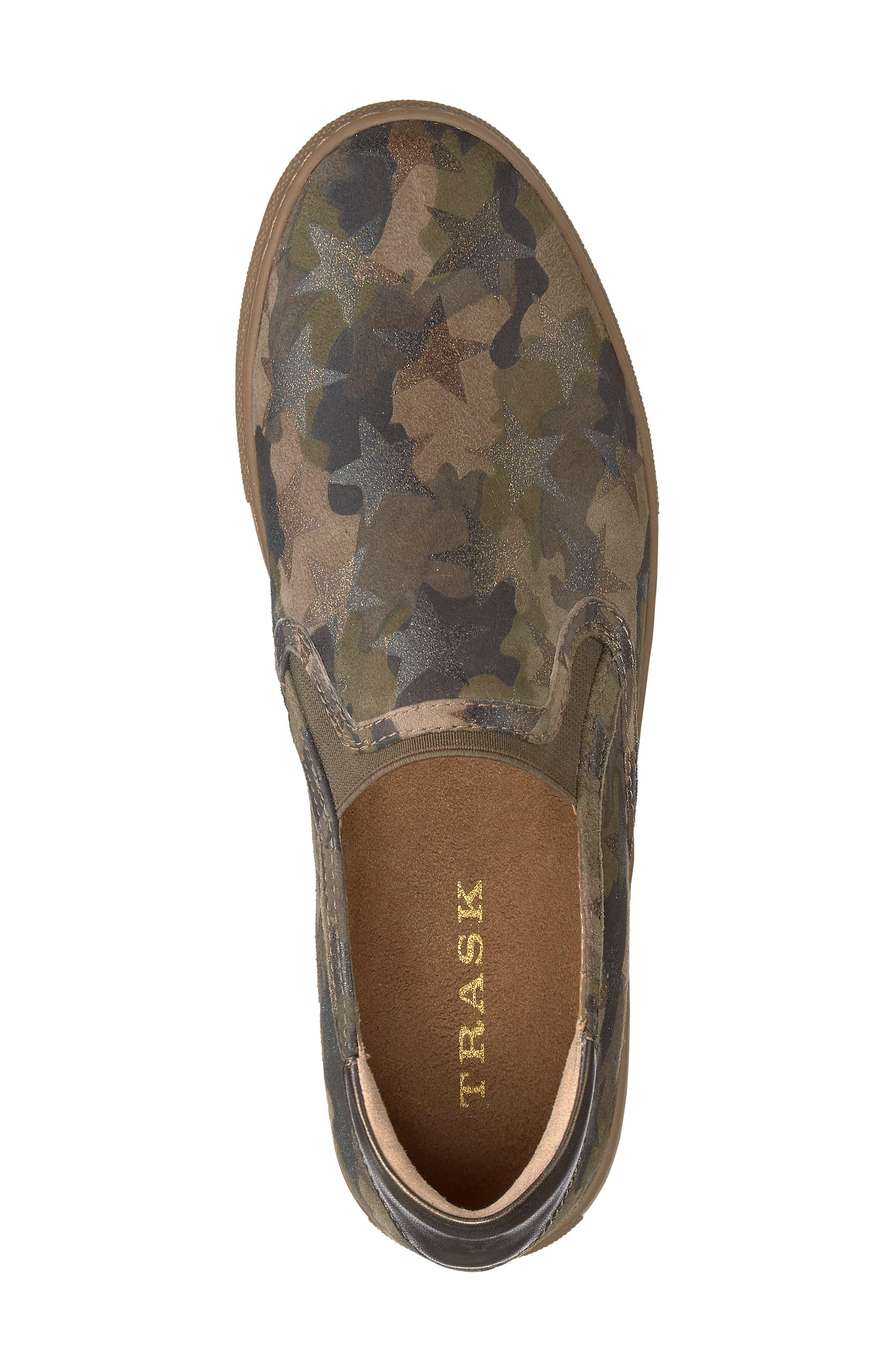 Lillian Water Resistant Slip-On Sneaker,                             Alternate thumbnail 5, color,                             OLIVE STAR PRINT SUEDE