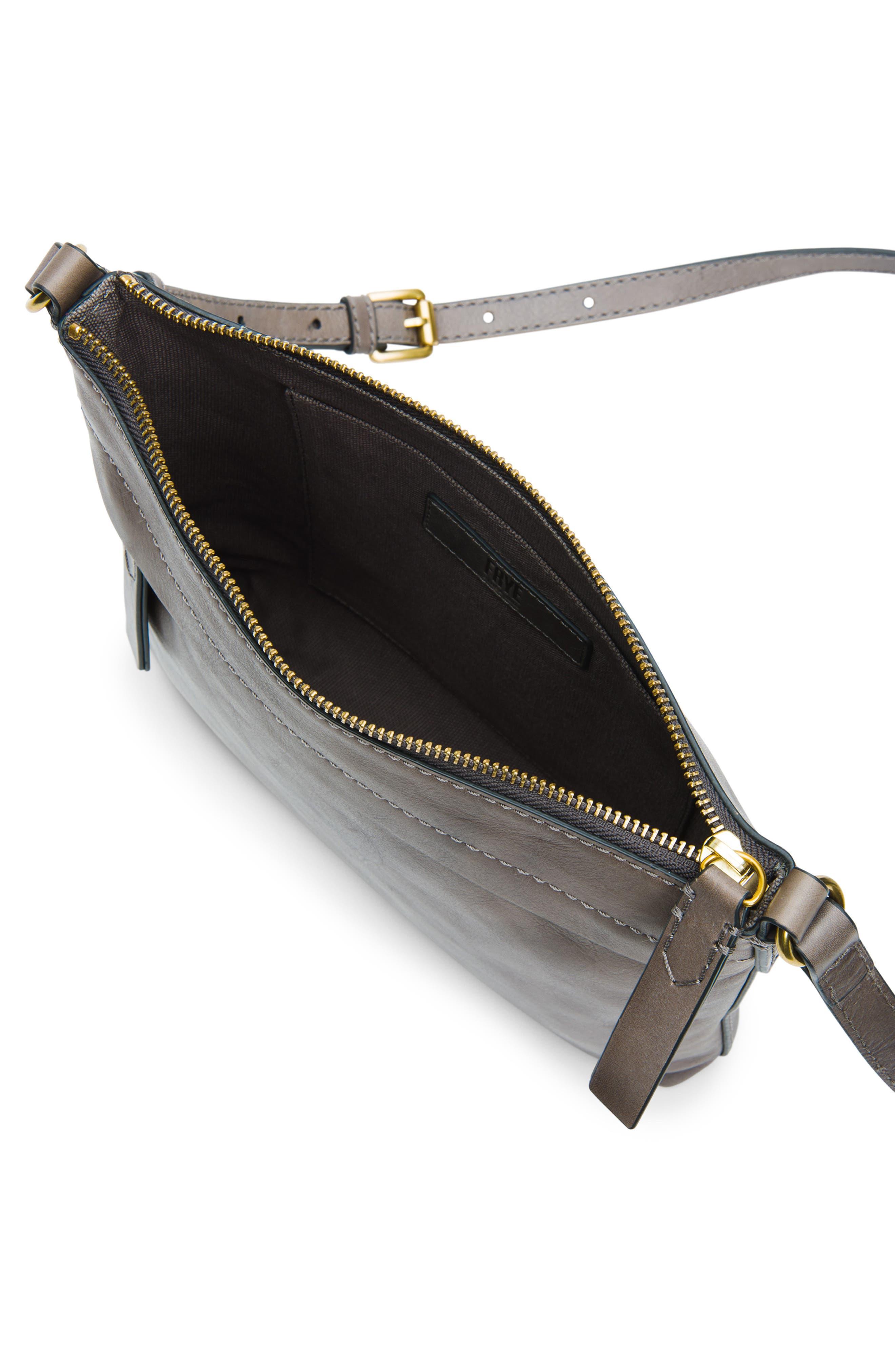Carson Leather Crossbody Bag,                             Alternate thumbnail 4, color,                             GREY
