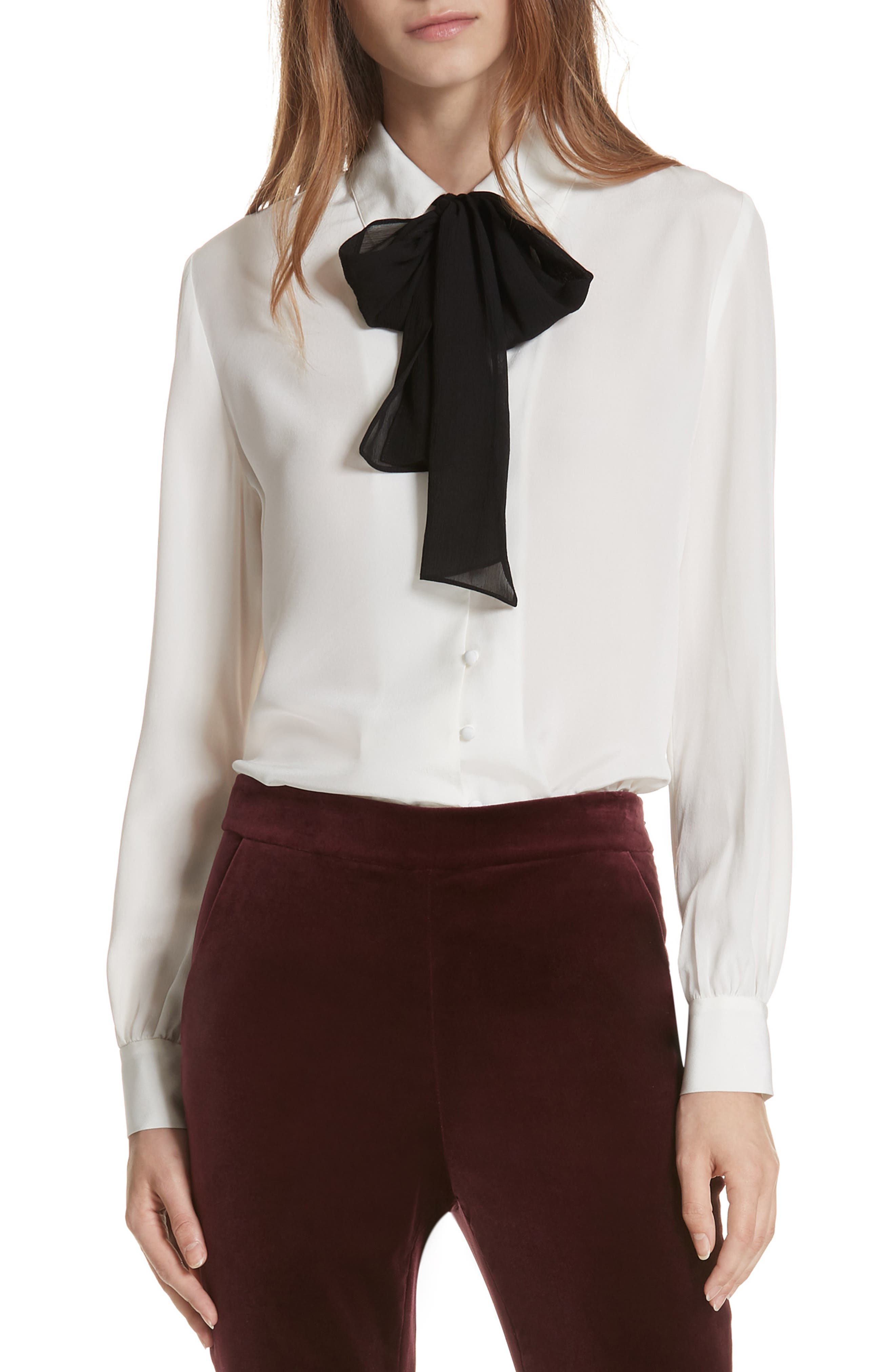 Tie Neck Silk Blouse,                             Main thumbnail 1, color,                             OFF WHITE