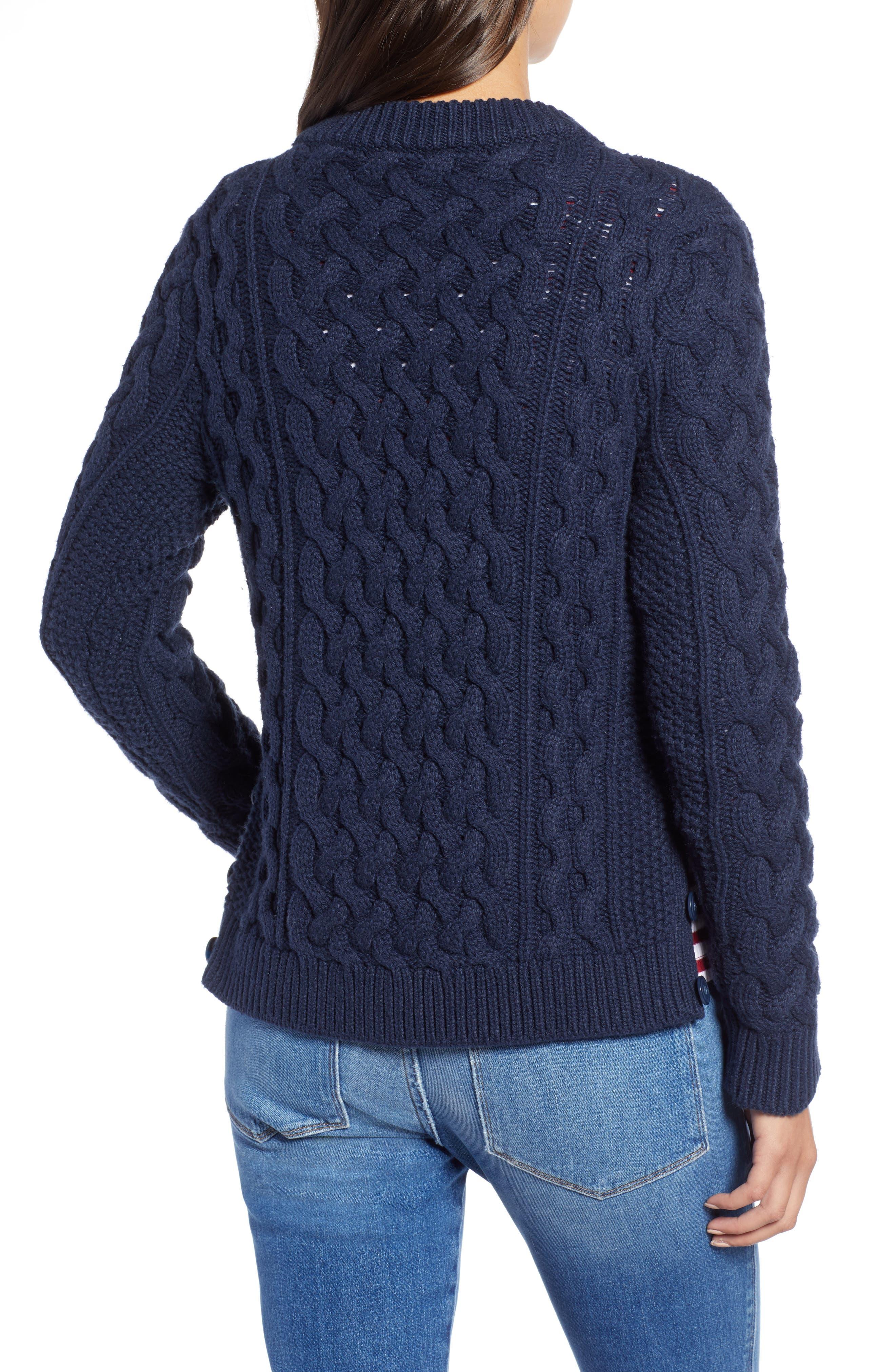 Fisherwoman Crewneck Pullover Sweater,                             Alternate thumbnail 2, color,                             NAVY BLAZER