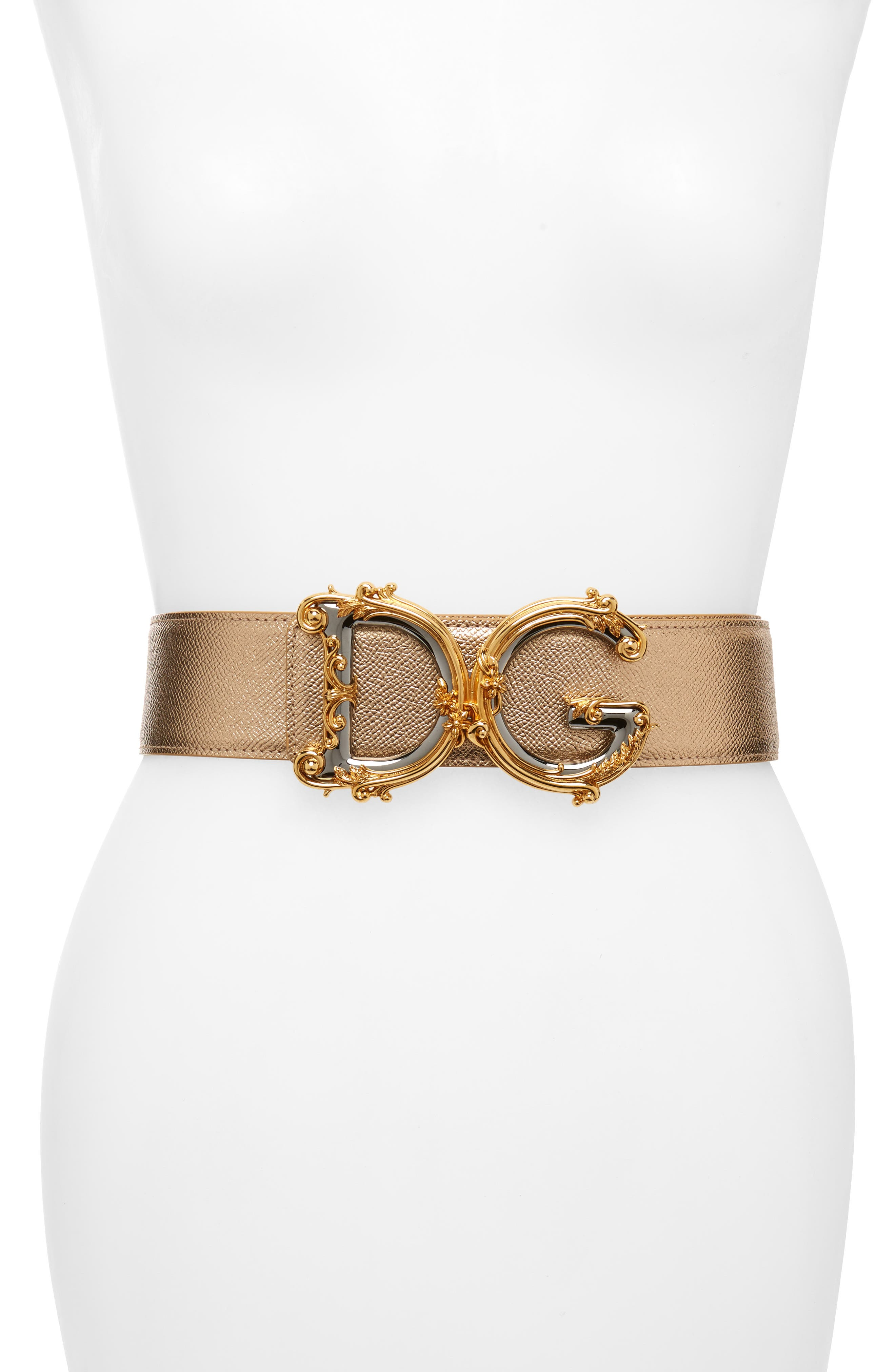 DOLCE&GABBANA,                             DG Baroque Metallic Calfskin Leather Belt,                             Main thumbnail 1, color,                             719