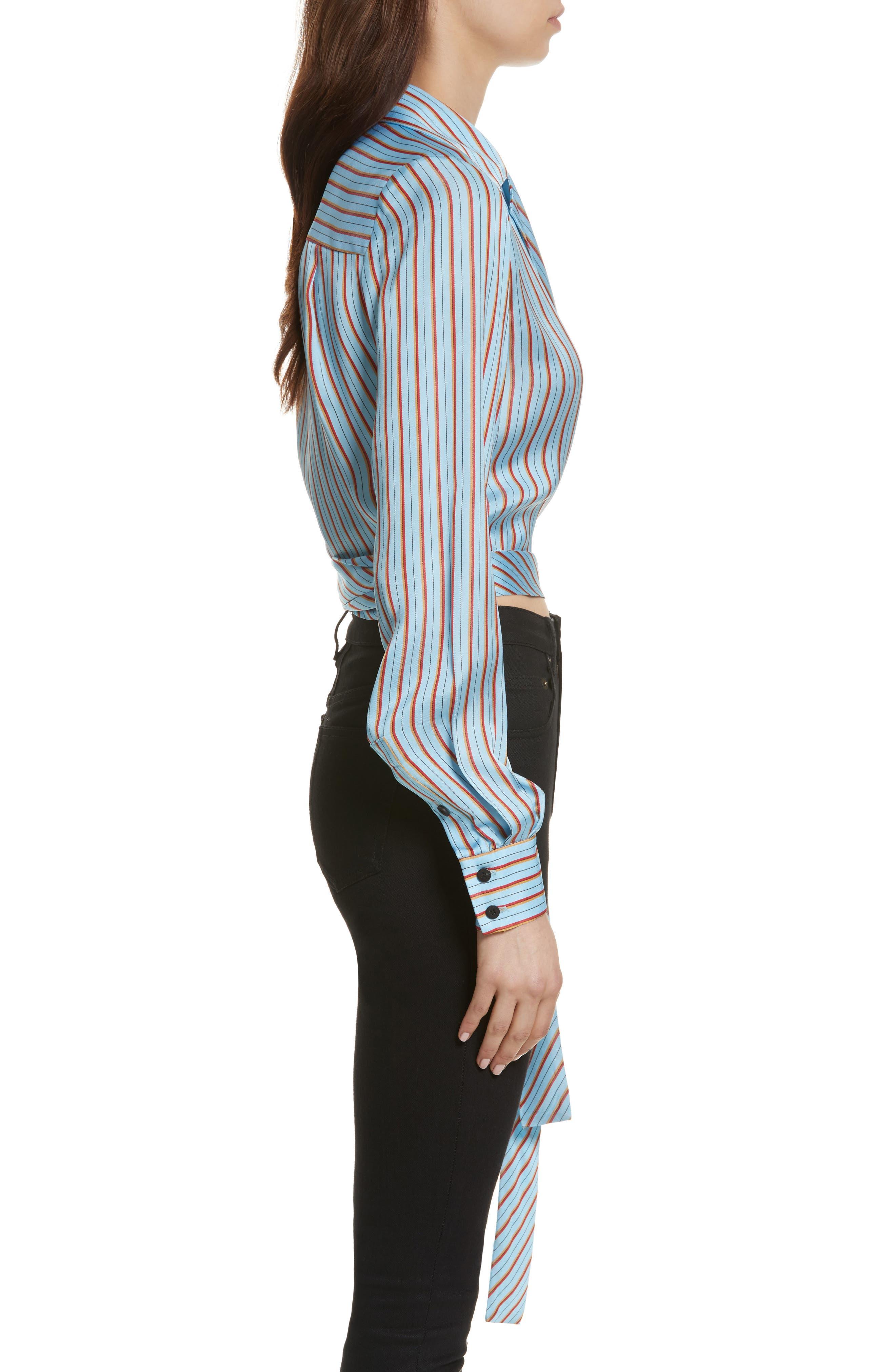 Diane von Furstenberg Stripe Wrap Top,                             Alternate thumbnail 3, color,                             477