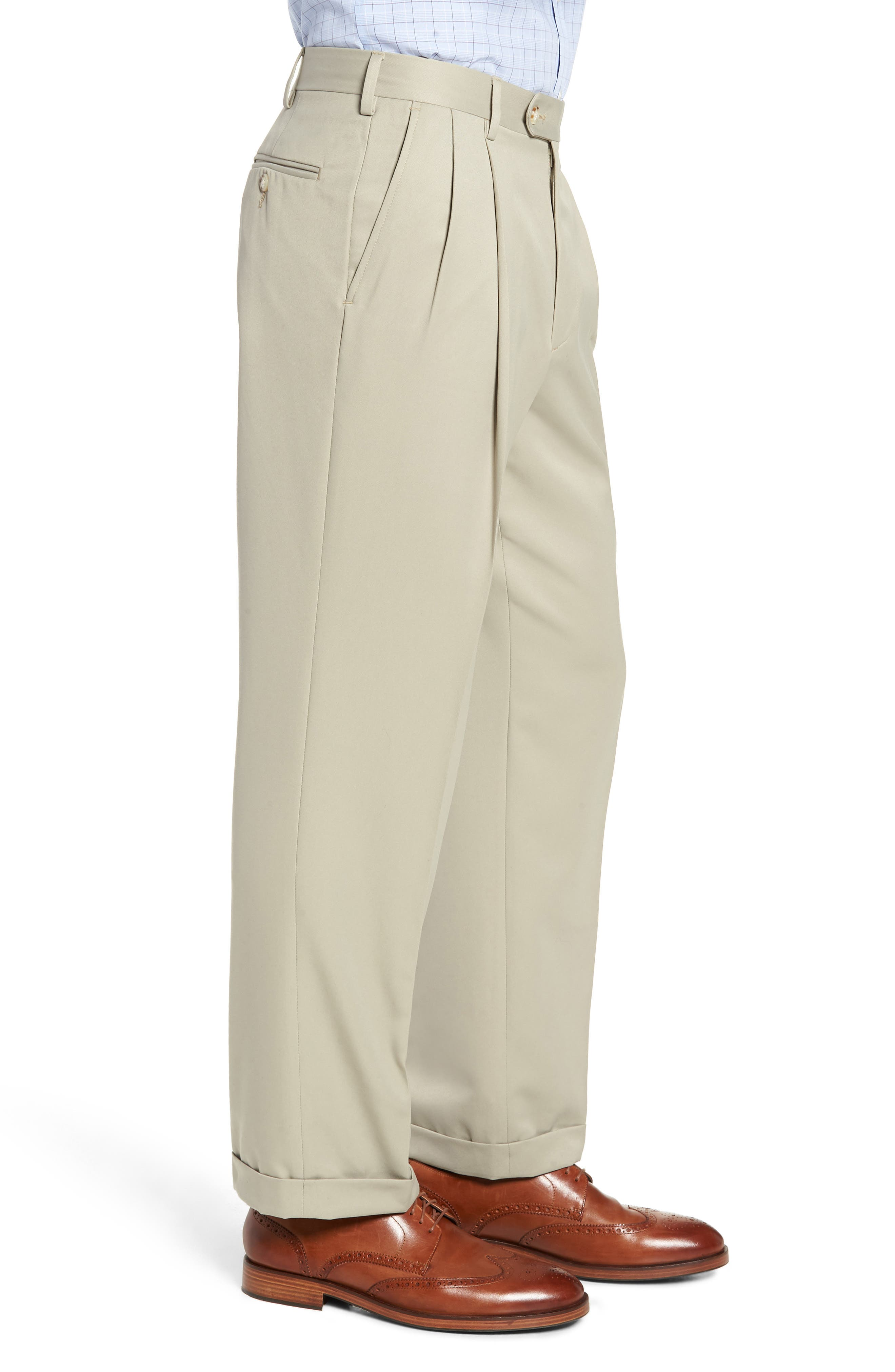 Classic Fit Pleated Microfiber Performance Trousers,                             Alternate thumbnail 3, color,                             TAUPE
