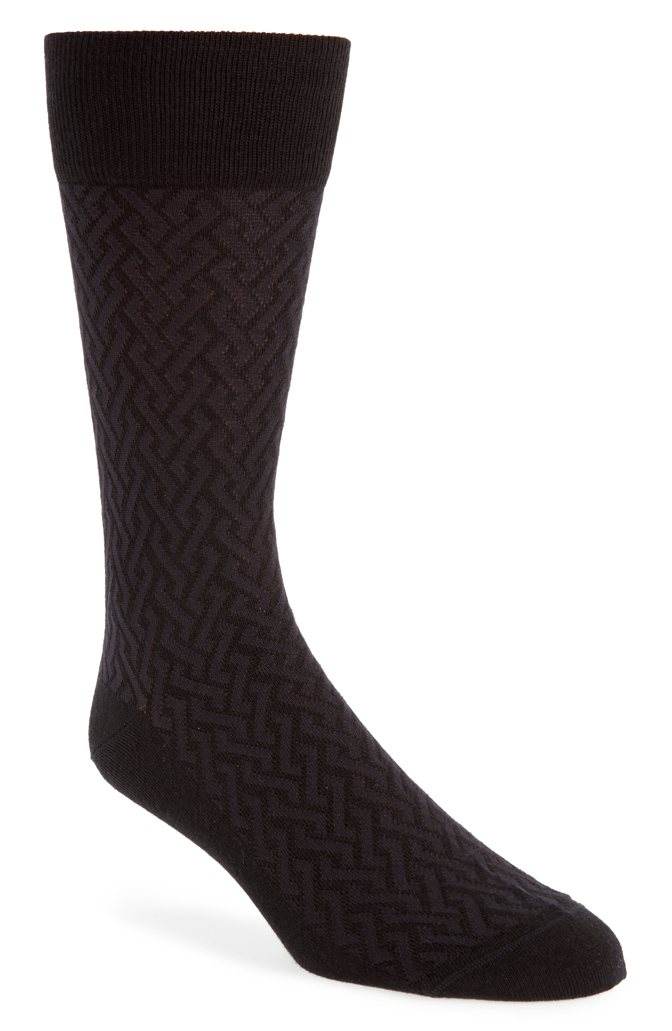 Intertwined Lines Socks,                         Main,                         color, BLACK