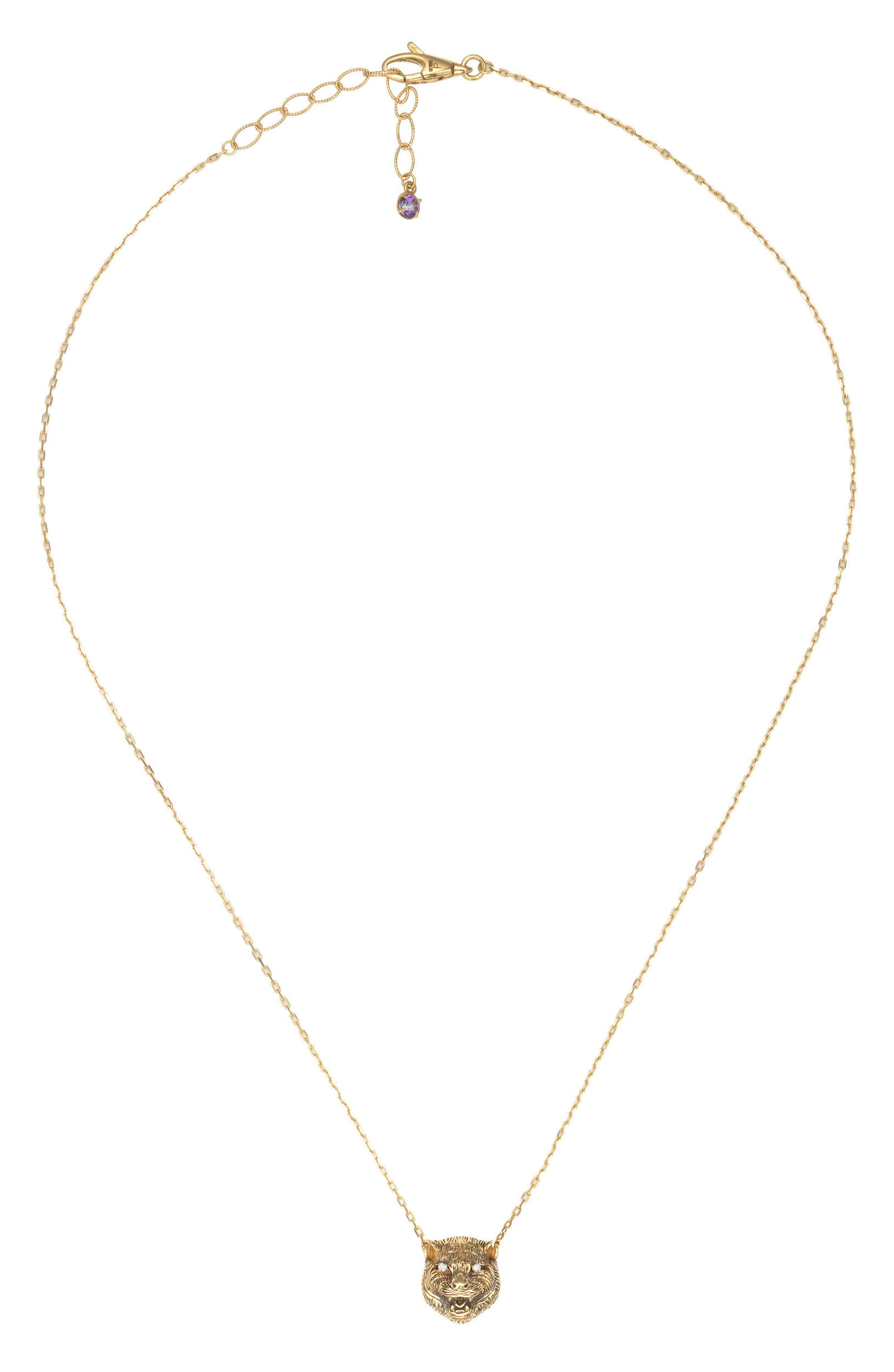 Le Marche Feline Head Pendant Necklace,                         Main,                         color, YELLOW GOLD/ PURPLE