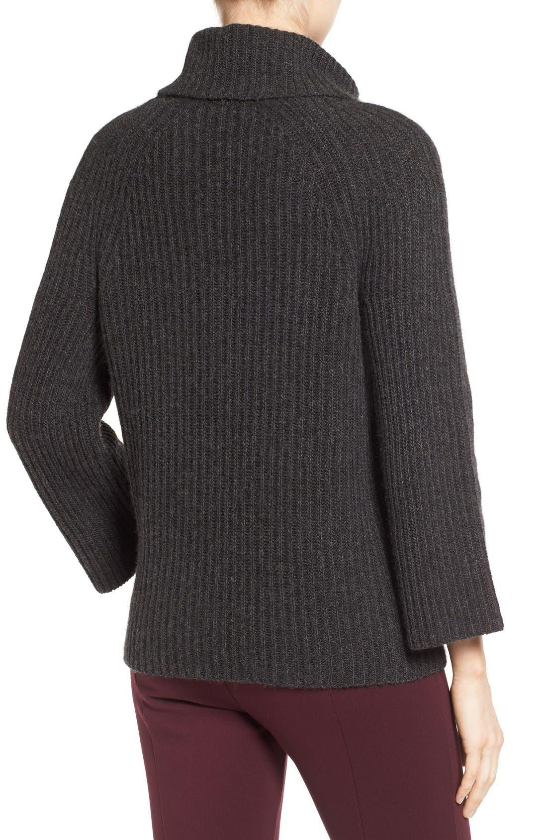 Ribbed Cashmere Turtleneck Sweater,                             Alternate thumbnail 5, color,                             021