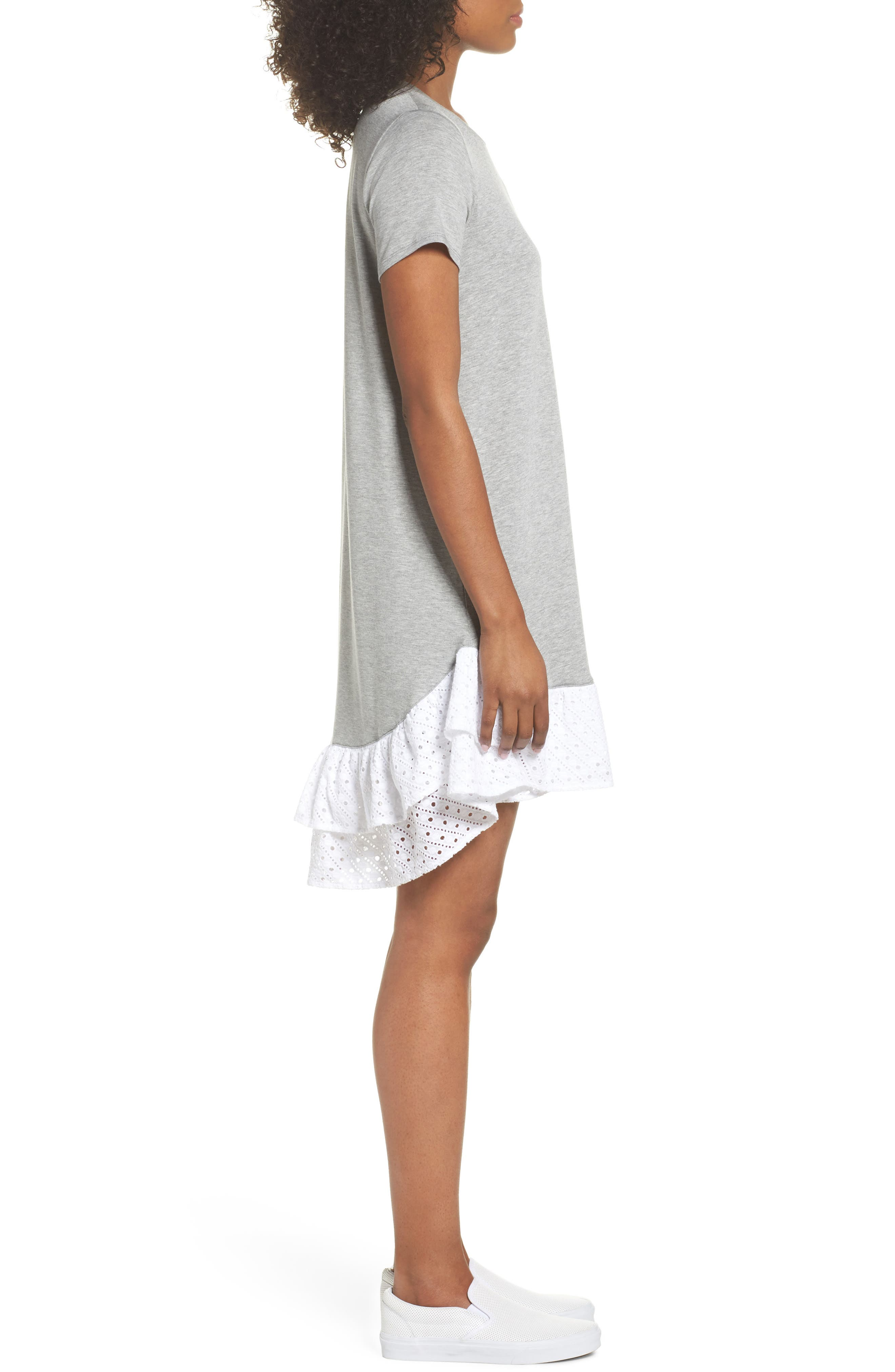 Eyelet Trim T-Shirt Dress,                             Alternate thumbnail 3, color,                             030