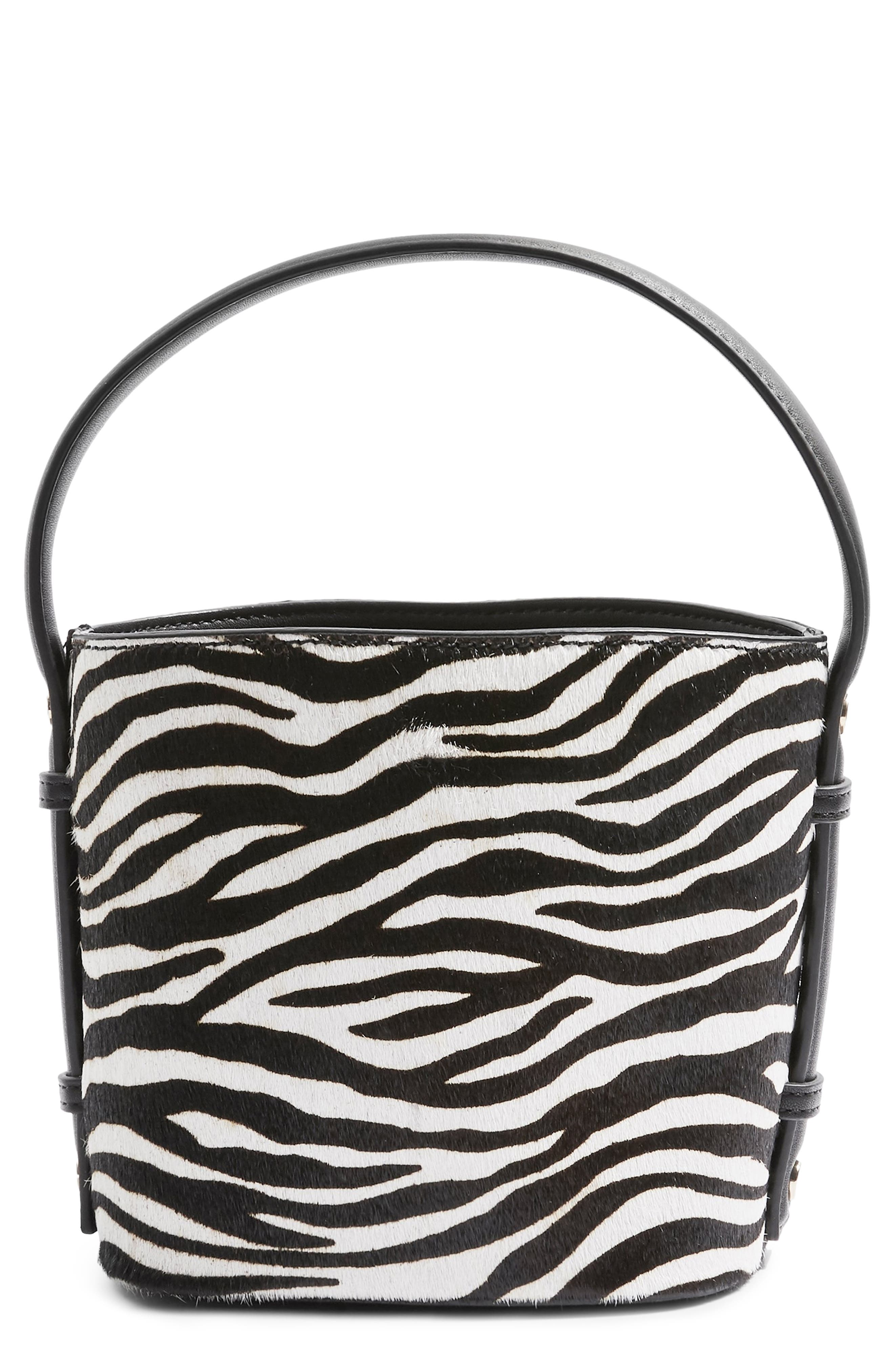TOPSHOP Samira Calf Hair Bucket Bag, Main, color, 002