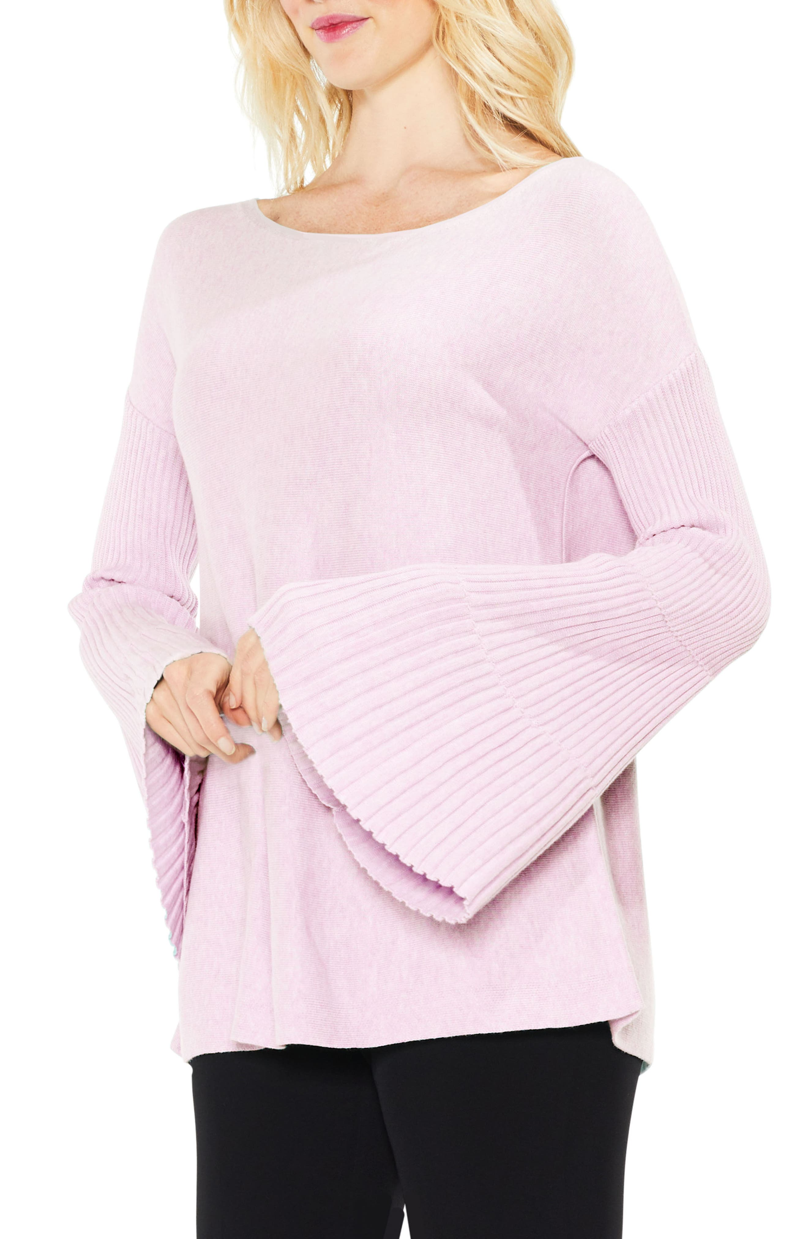 Bell Sleeve Ribbed Sweater,                             Main thumbnail 9, color,