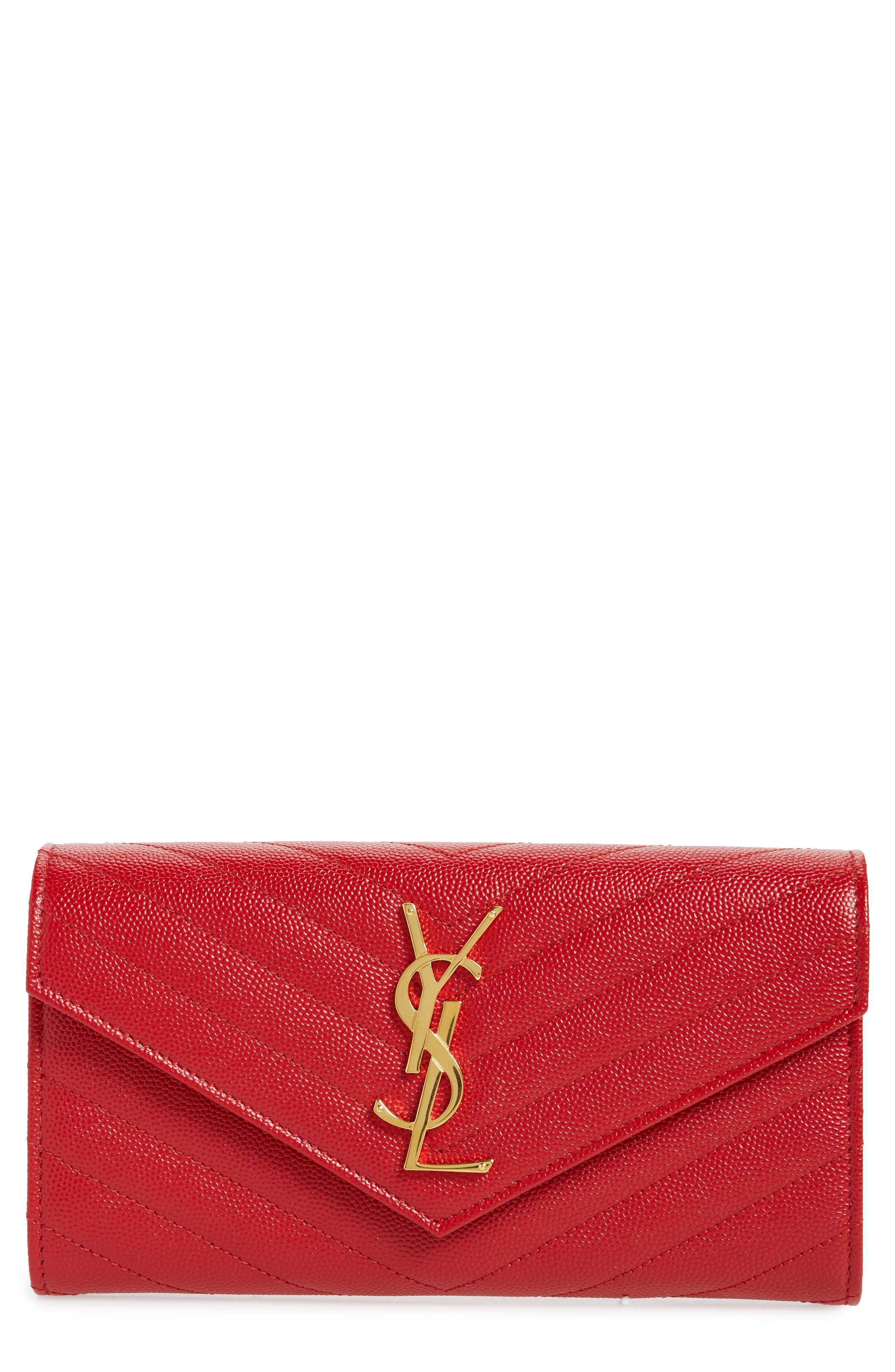 Monogram Logo Leather Flap Wallet,                             Main thumbnail 1, color,                             BANDANA RED