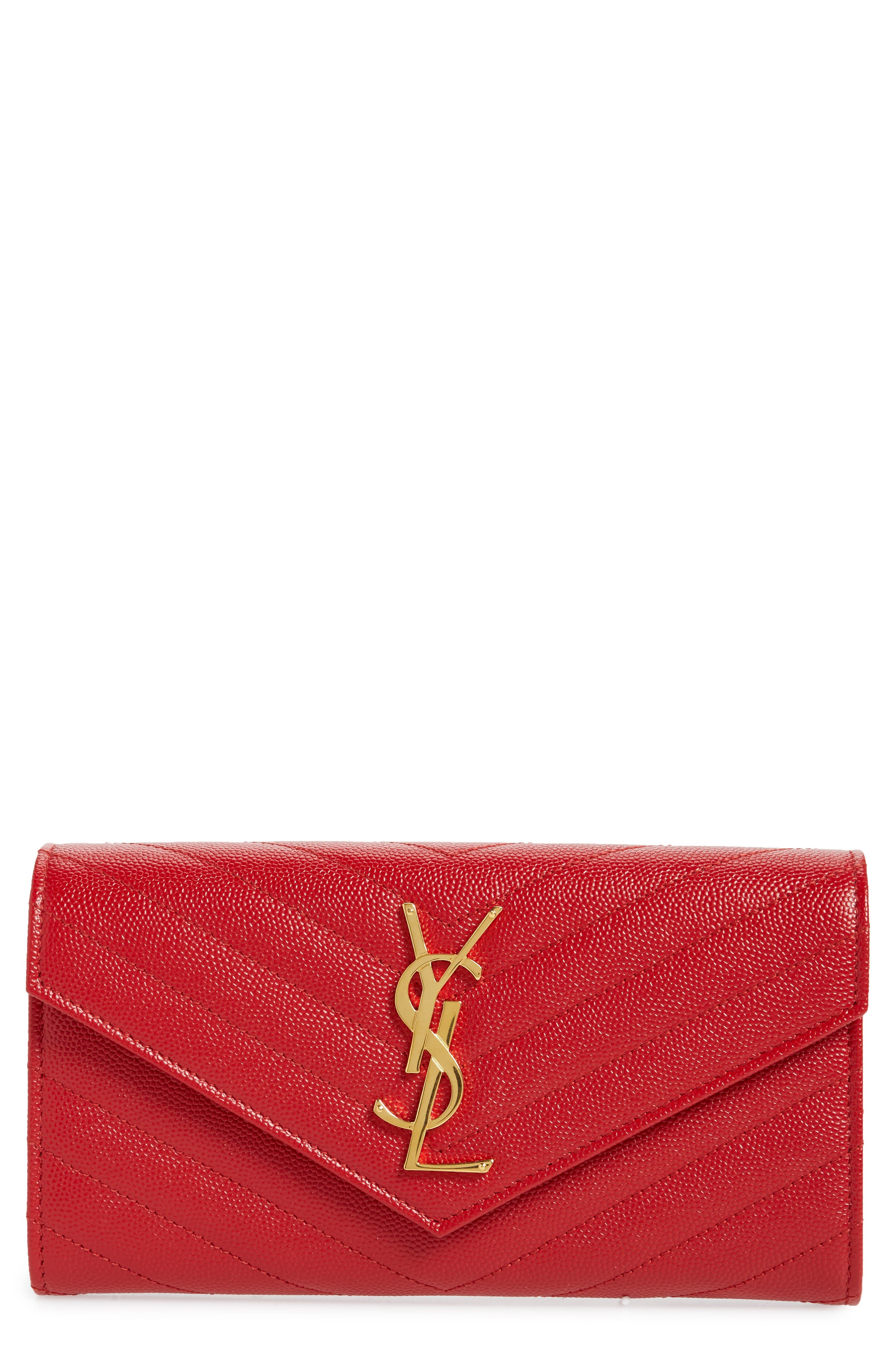 Monogram Logo Leather Flap Wallet,                         Main,                         color, BANDANA RED