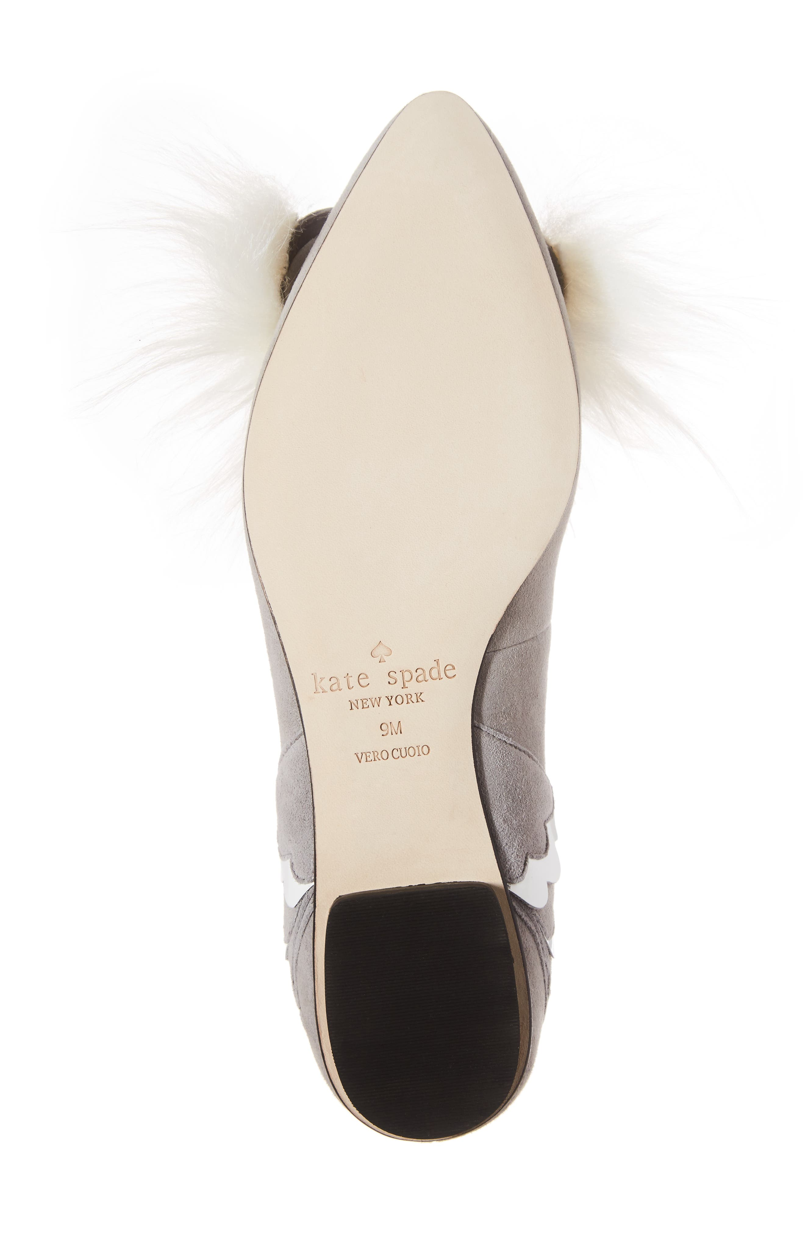 nora faux fur trim flat,                             Alternate thumbnail 6, color,                             020