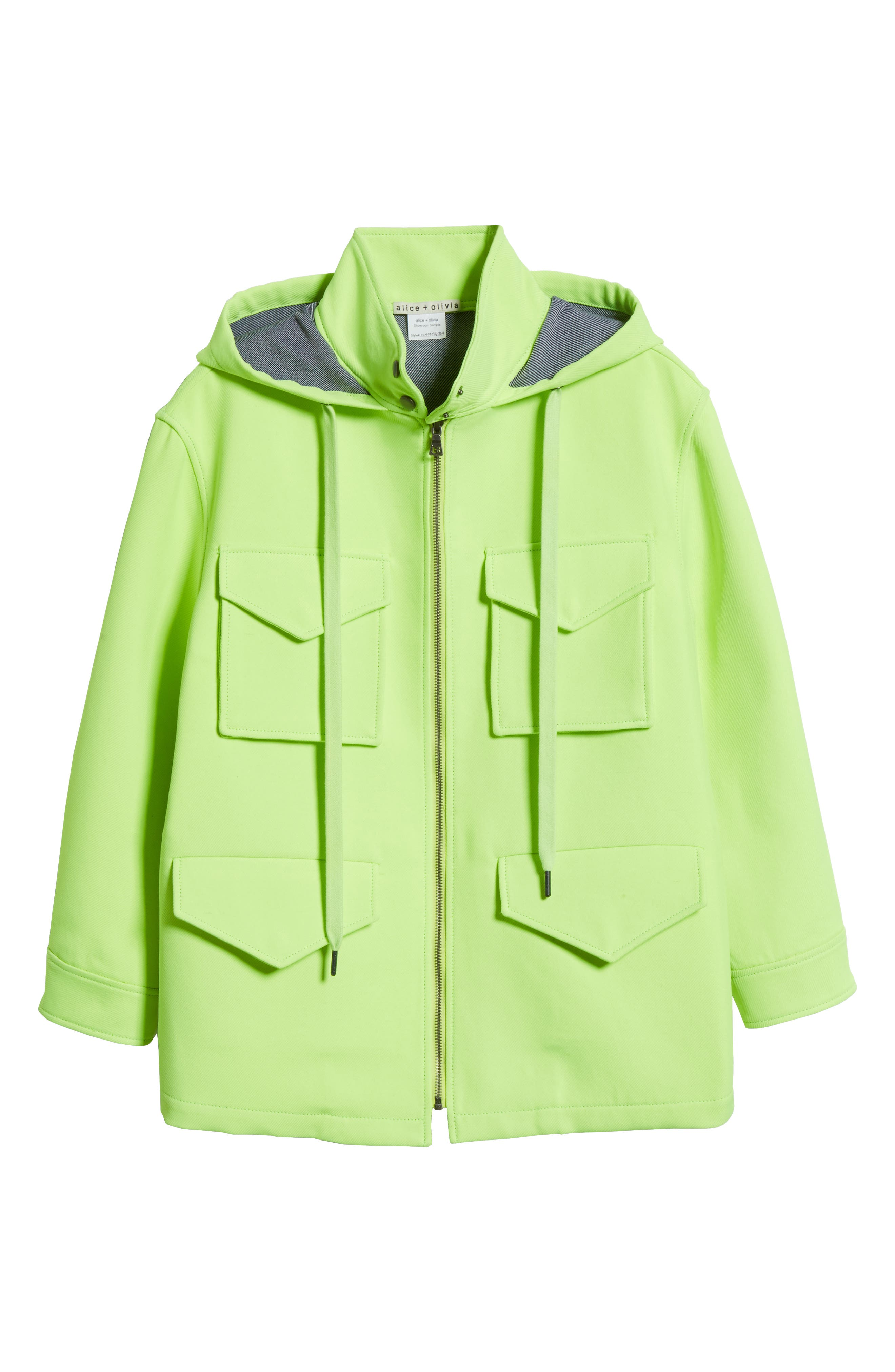 ALICE + OLIVIA,                             Russo Hooded Jacket,                             Alternate thumbnail 5, color,                             NEON YELLOW