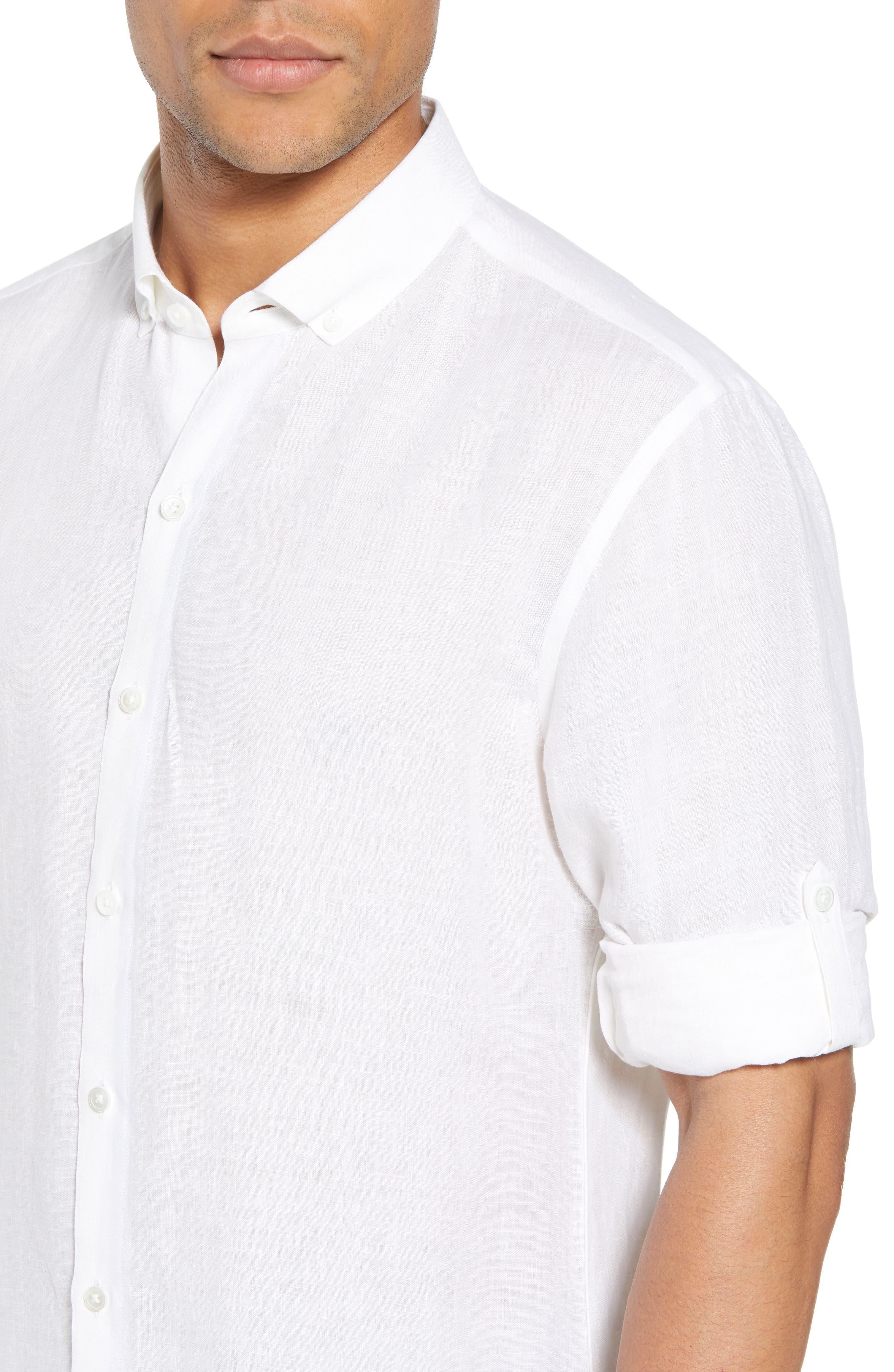 Yang Linen Sport Shirt,                             Alternate thumbnail 4, color,                             WHITE