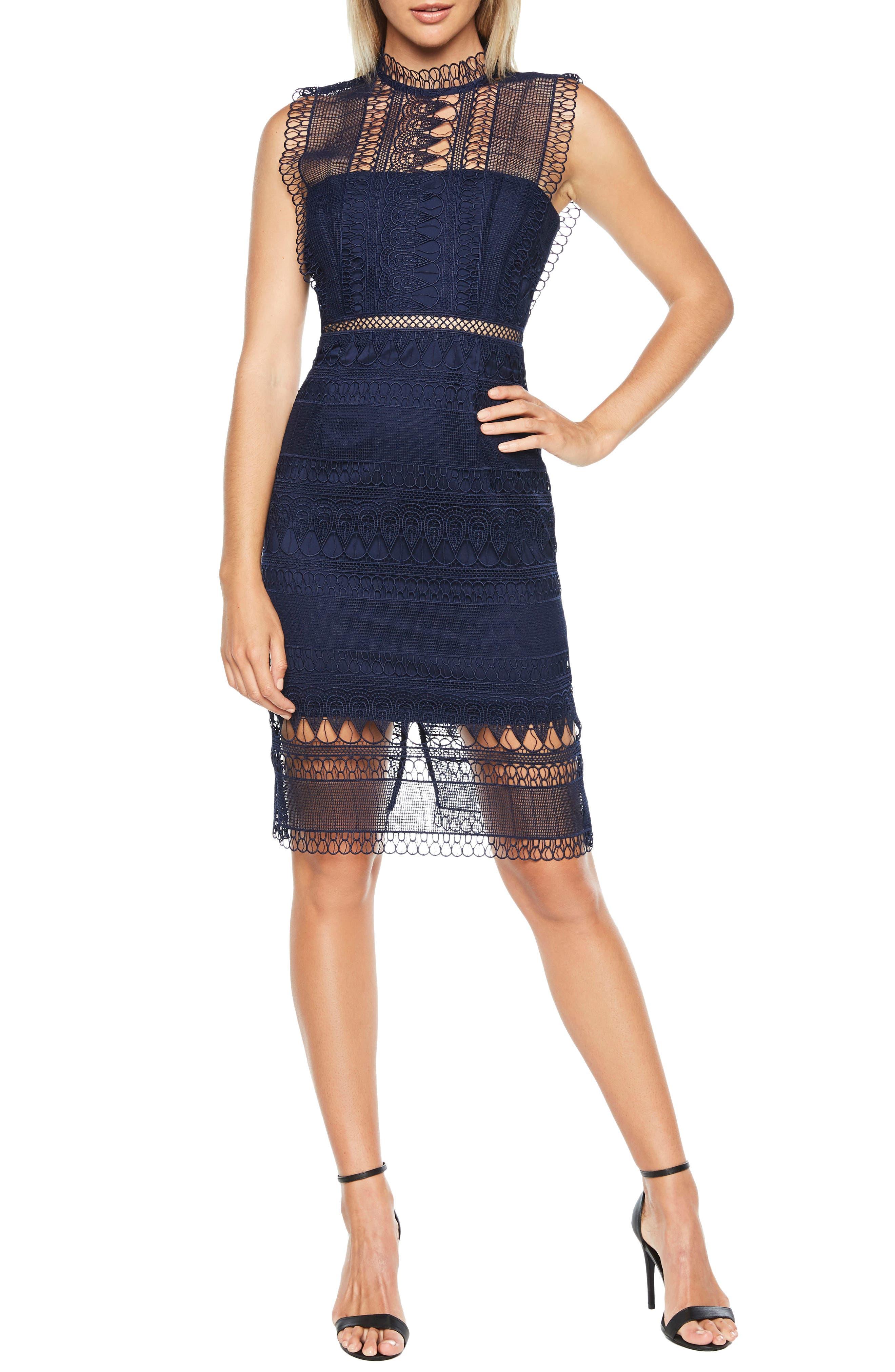 Mariana Sleeveless Lace Body-Con Dress in Patriot Blue