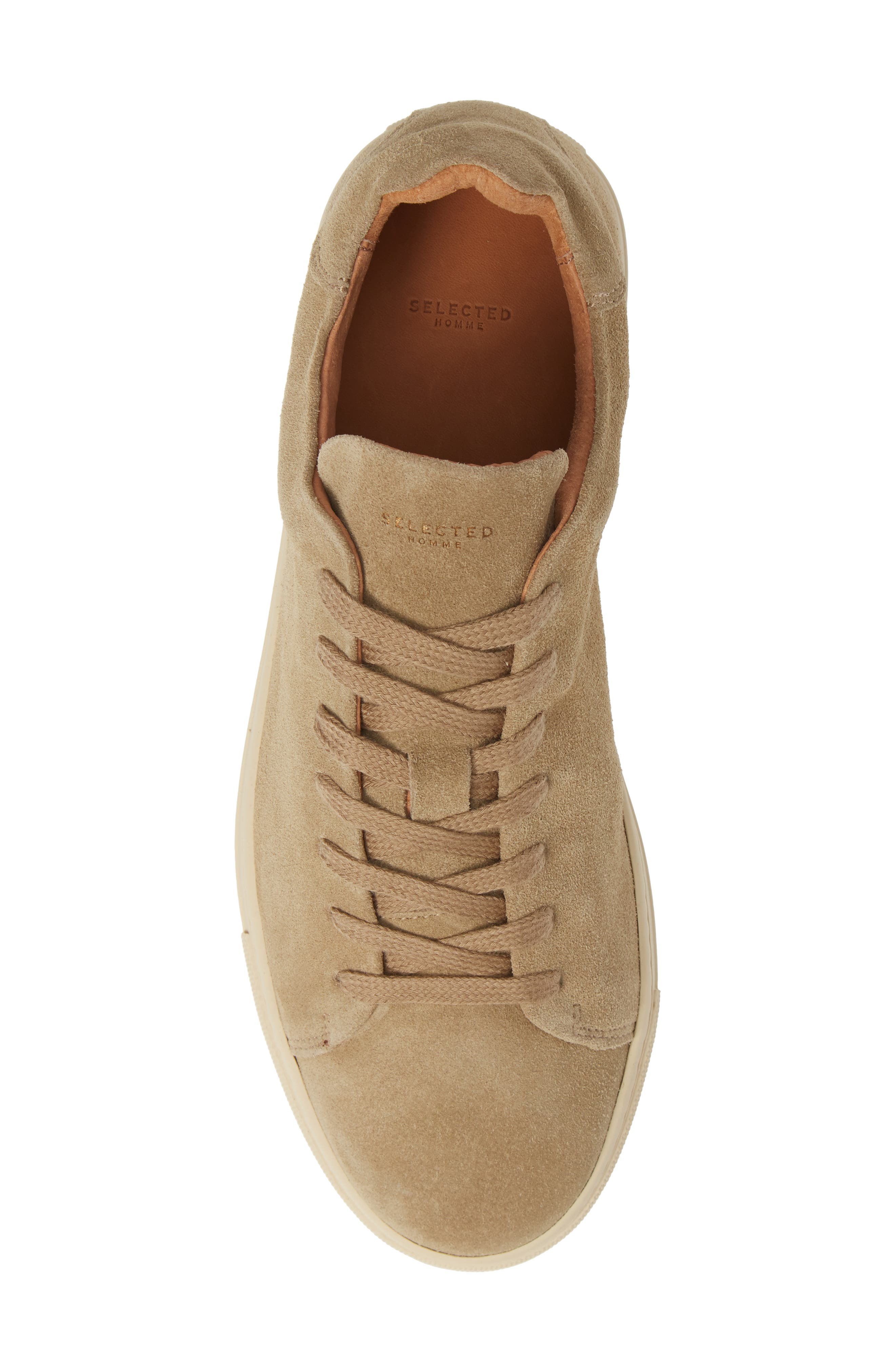 Selected Home David Low Top Sneaker,                             Alternate thumbnail 5, color,                             SAND SUEDE