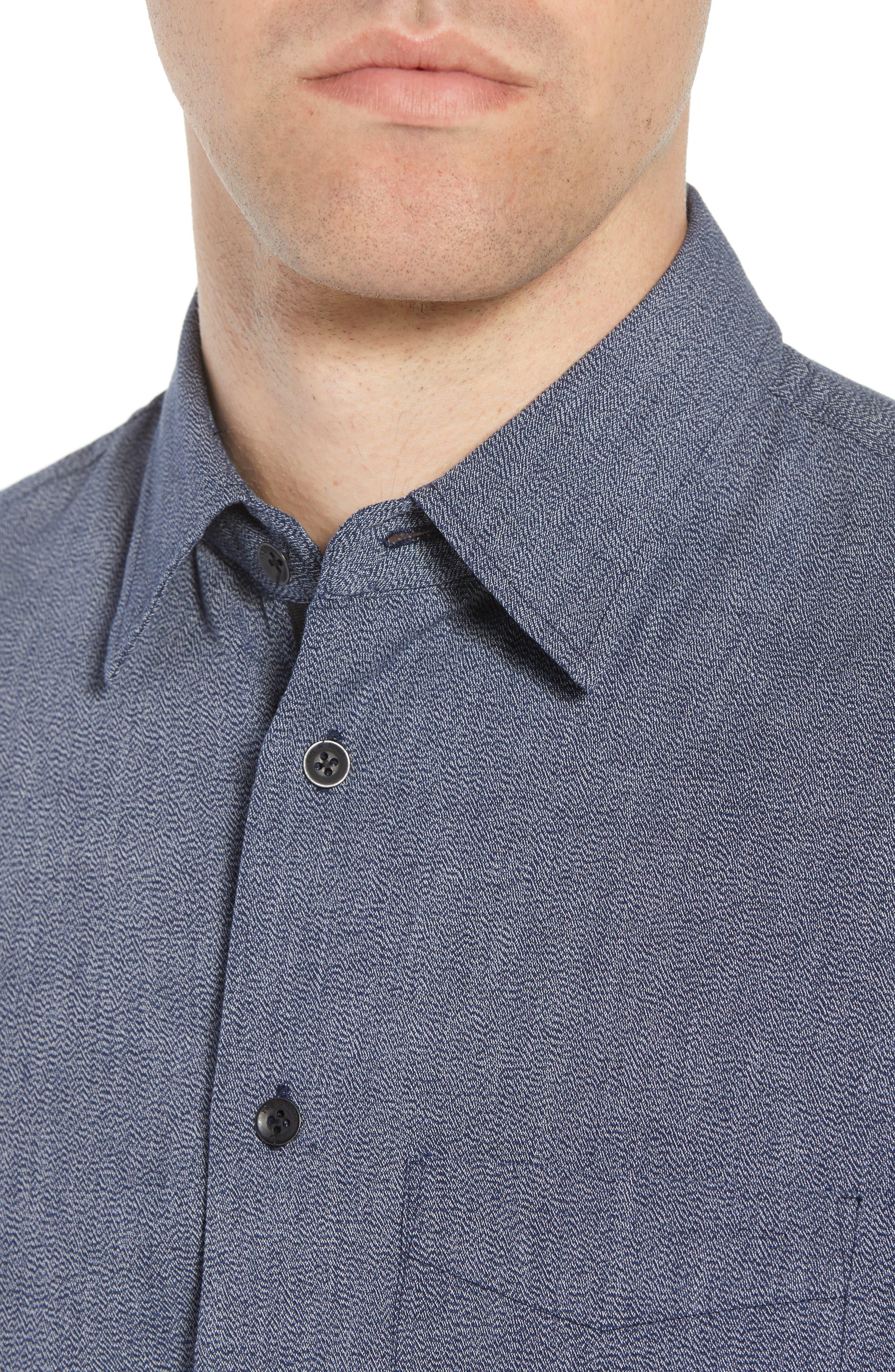 Regular Fit Short Sleeve Sport Shirt,                             Alternate thumbnail 4, color,                             BLUE
