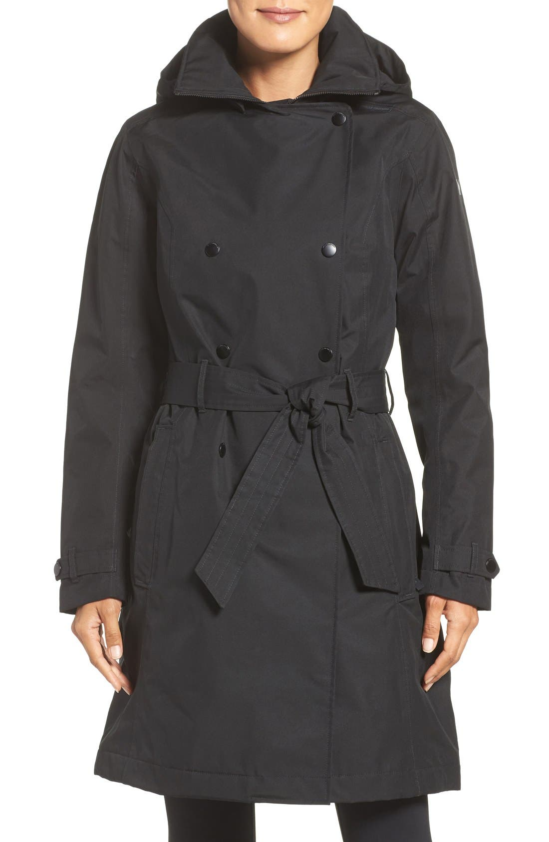 'Welsey' Insulated Waterproof Trench Coat,                             Main thumbnail 1, color,                             001