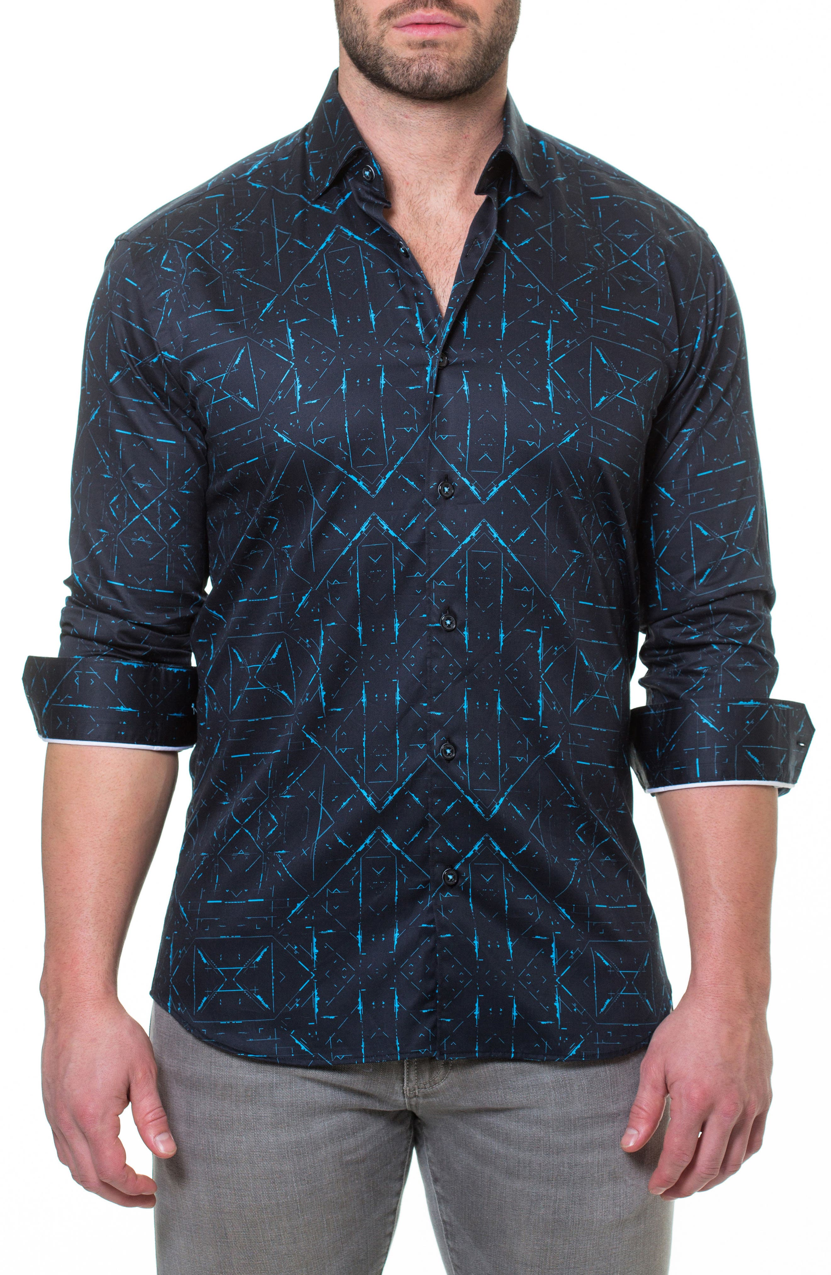 Luxor Sketch Black Slim Fit Sport Shirt,                             Main thumbnail 1, color,                             007
