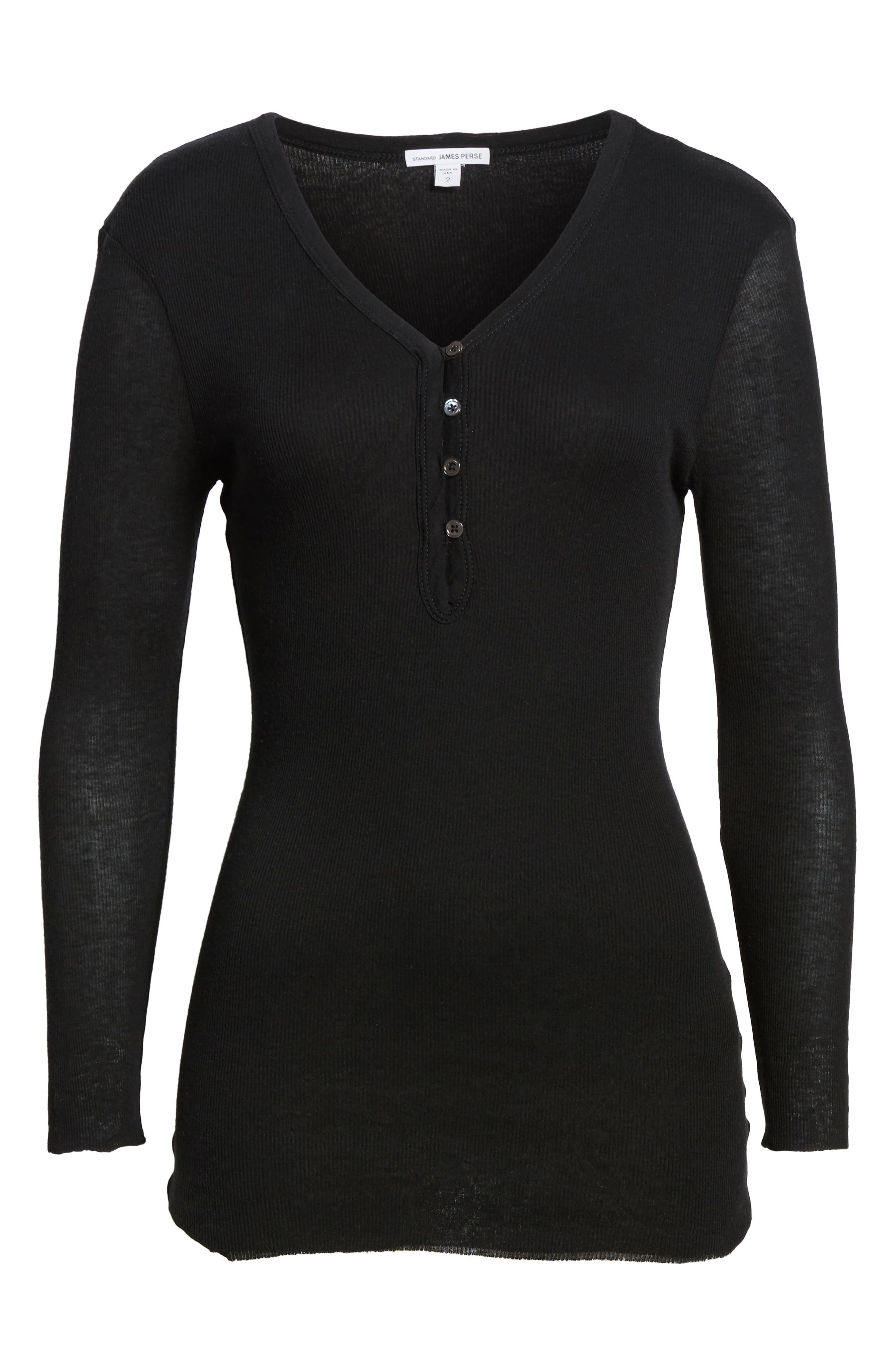 Ribbed Cotton & Cashmere Henley,                             Alternate thumbnail 7, color,                             001