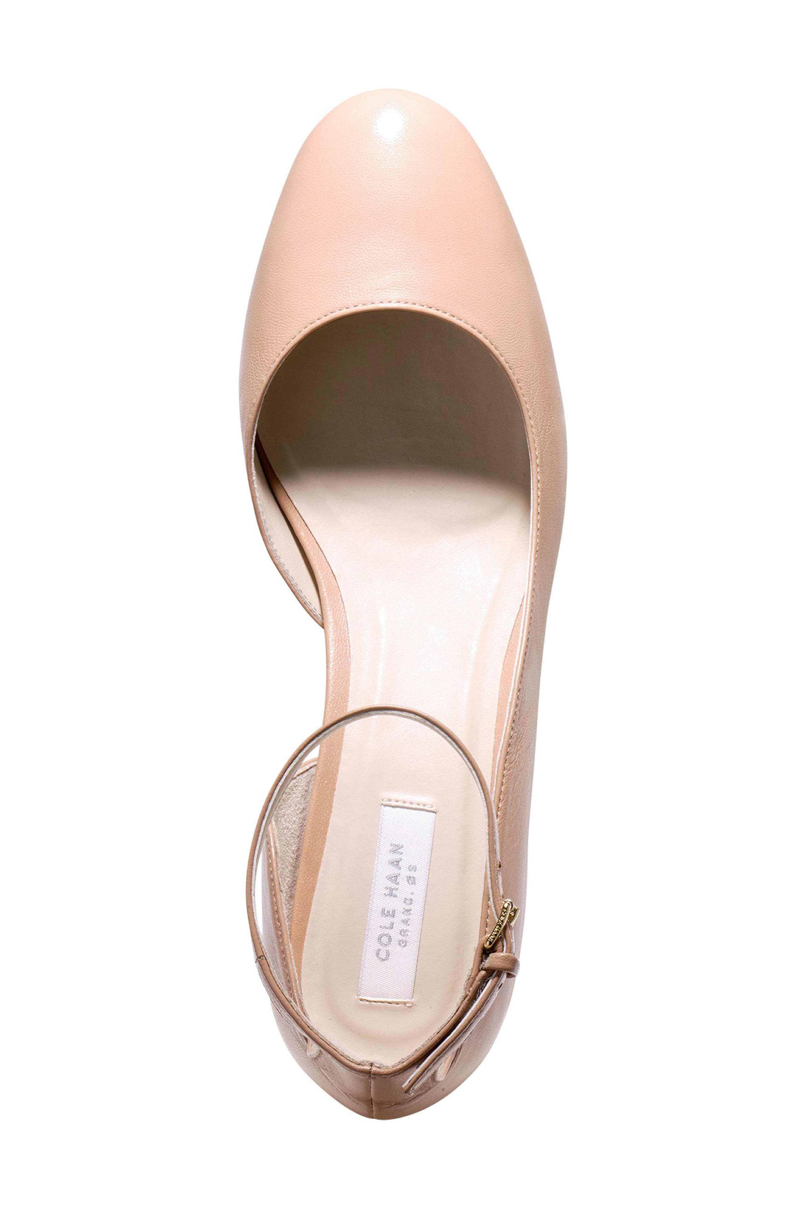 Warner Ankle Strap Pump,                             Alternate thumbnail 4, color,                             NUDE LEATHER