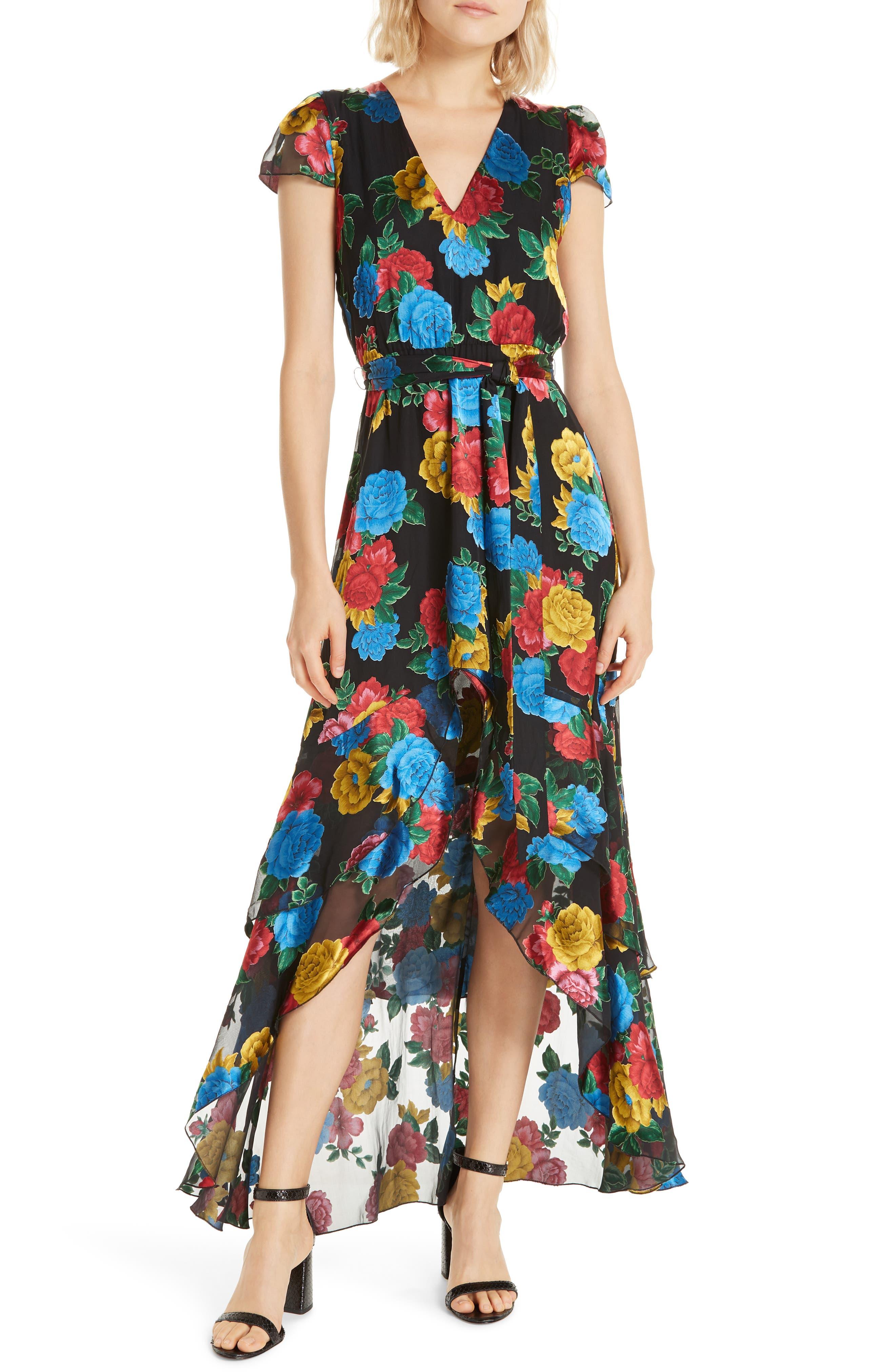 Erika Ruffle High/Low Midi Dress,                             Main thumbnail 1, color,                             CAMELLIA BOUQUET BLACK/ MULTI