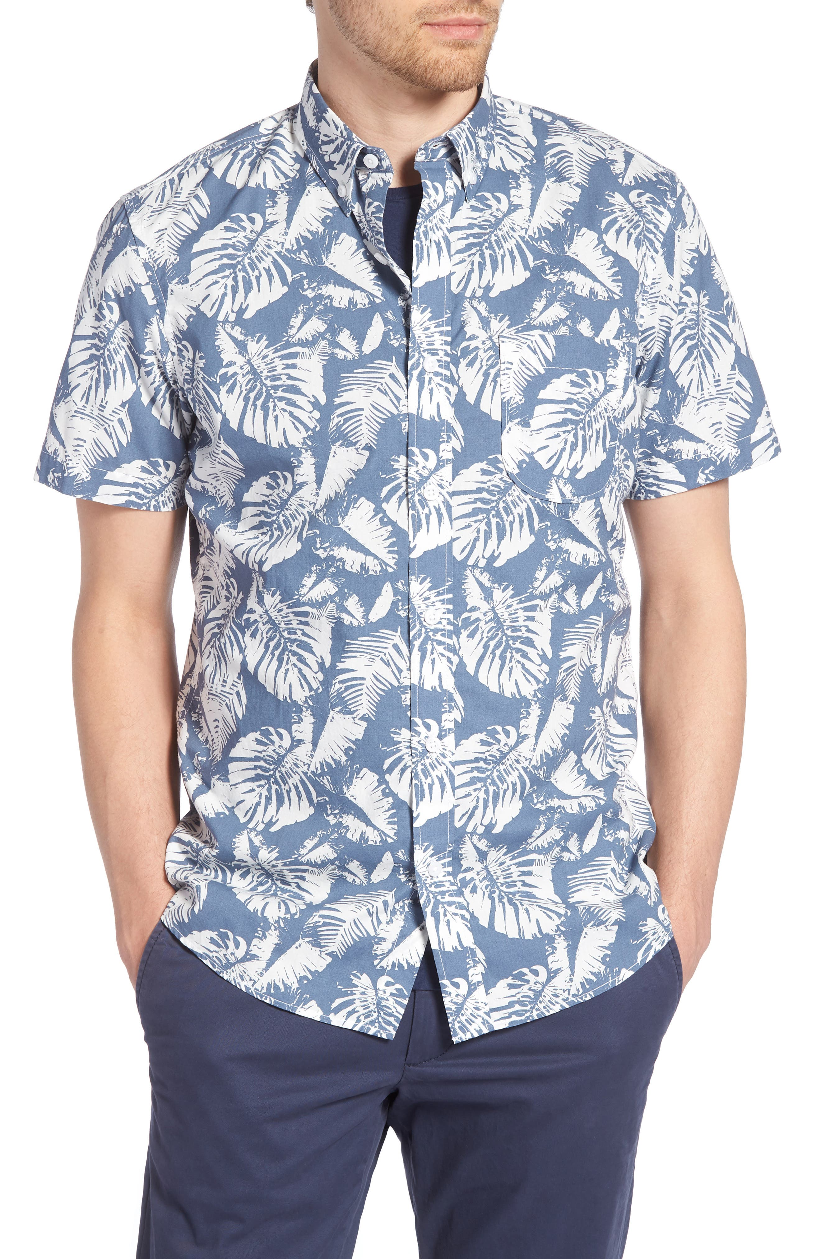 Trim Fit Palm Print Sport Shirt,                             Main thumbnail 1, color,                             410