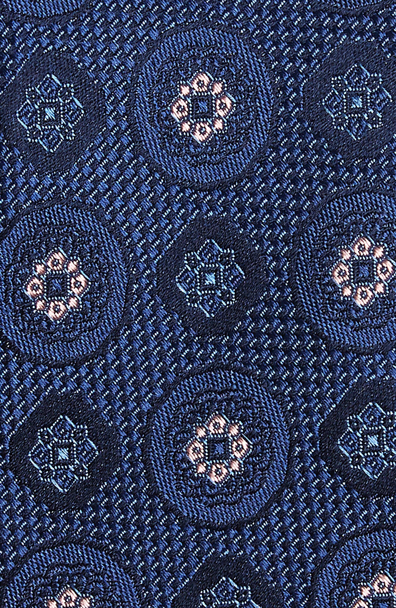 Edlin Medallion Silk Tie,                             Alternate thumbnail 2, color,                             NAVY