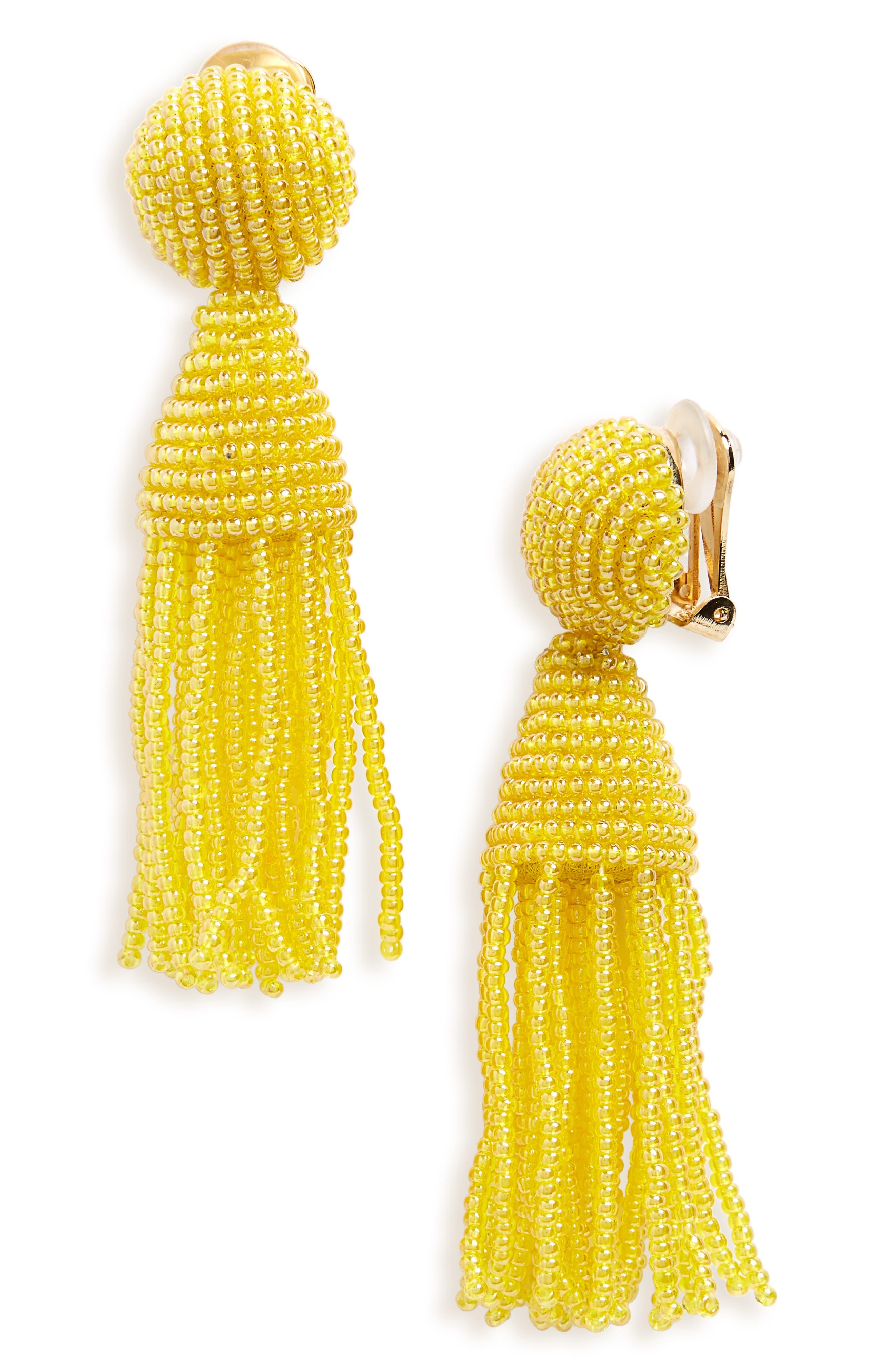 'Classic Short' Tassel Drop Clip Earrings,                             Main thumbnail 24, color,