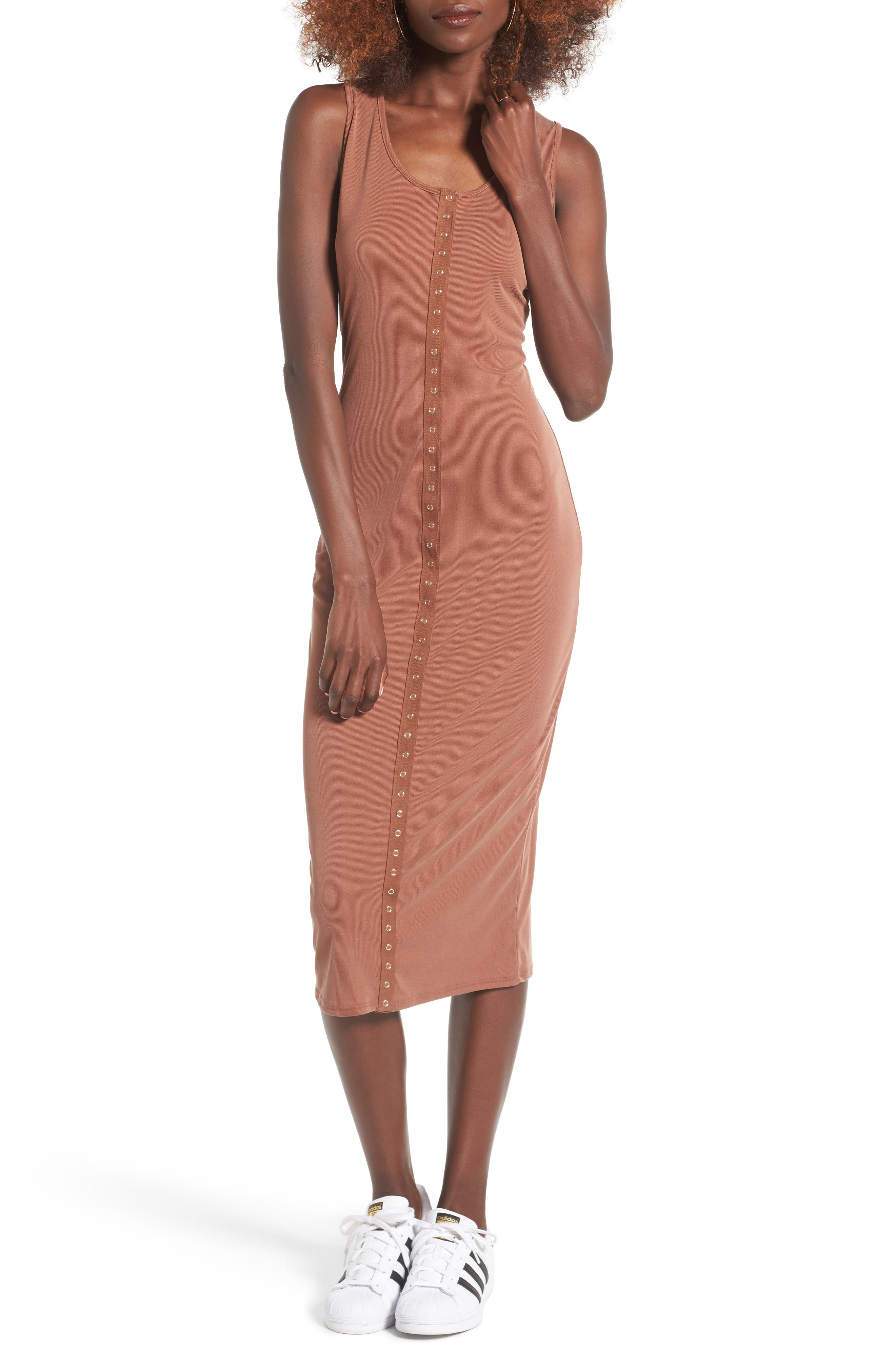 Snap Front Midi Dress,                             Main thumbnail 4, color,