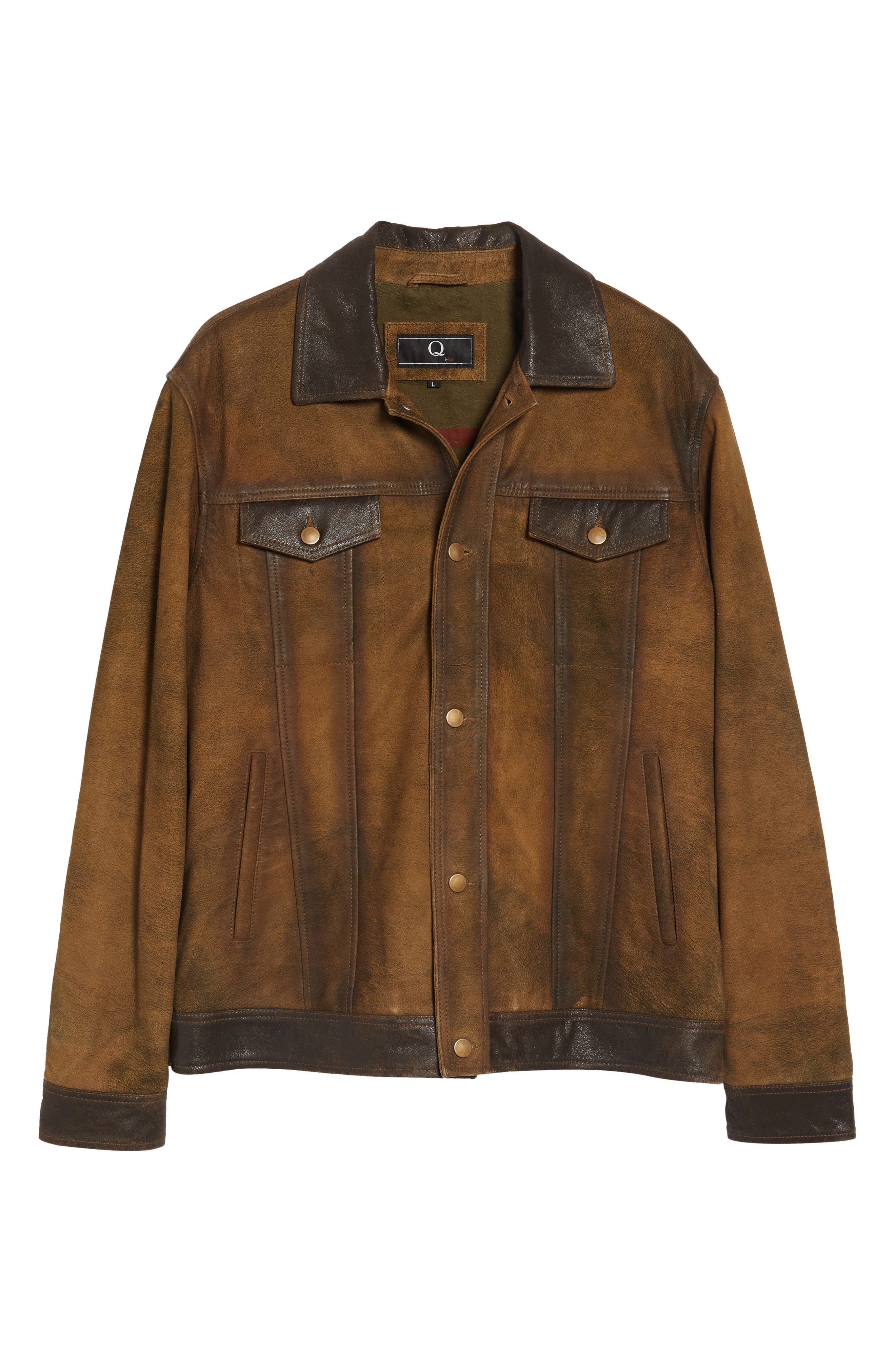 Distressed Leather Trucker Jacket,                             Alternate thumbnail 5, color,                             200