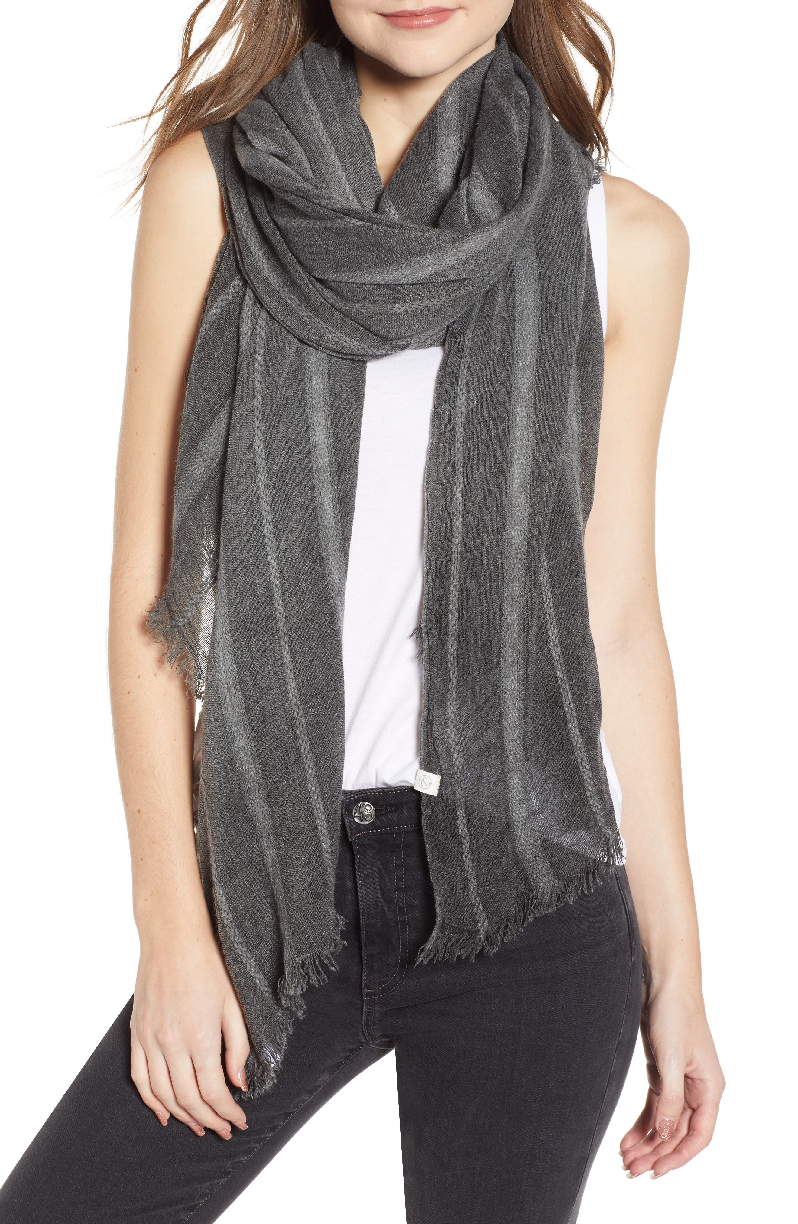 TREASURE & BOND Solid Ribbed Wrap Scarf, Main, color, BLACK