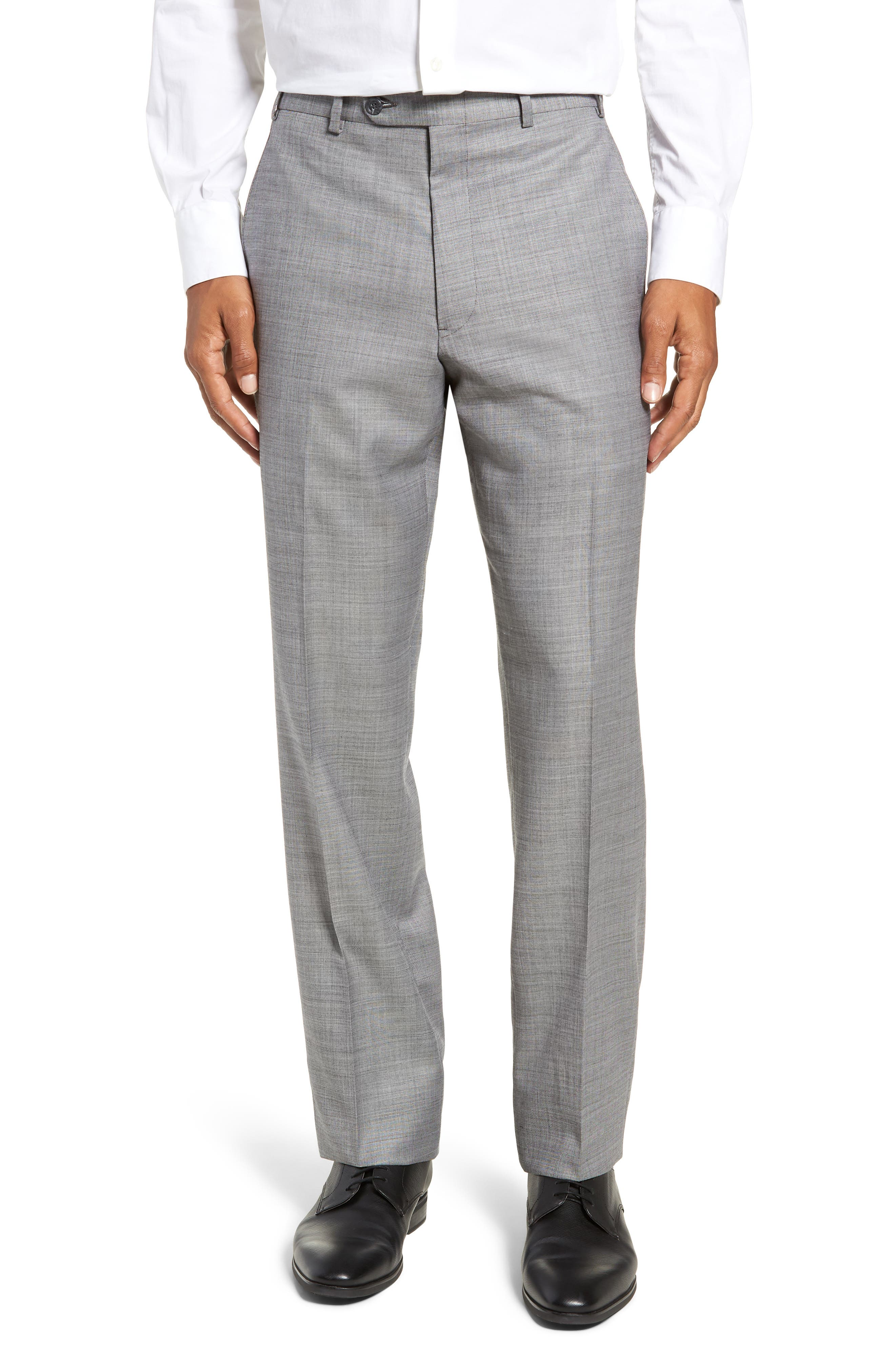 Traditional Fit Flat Front Solid Wool Trousers,                             Main thumbnail 1, color,                             GREY PEARL