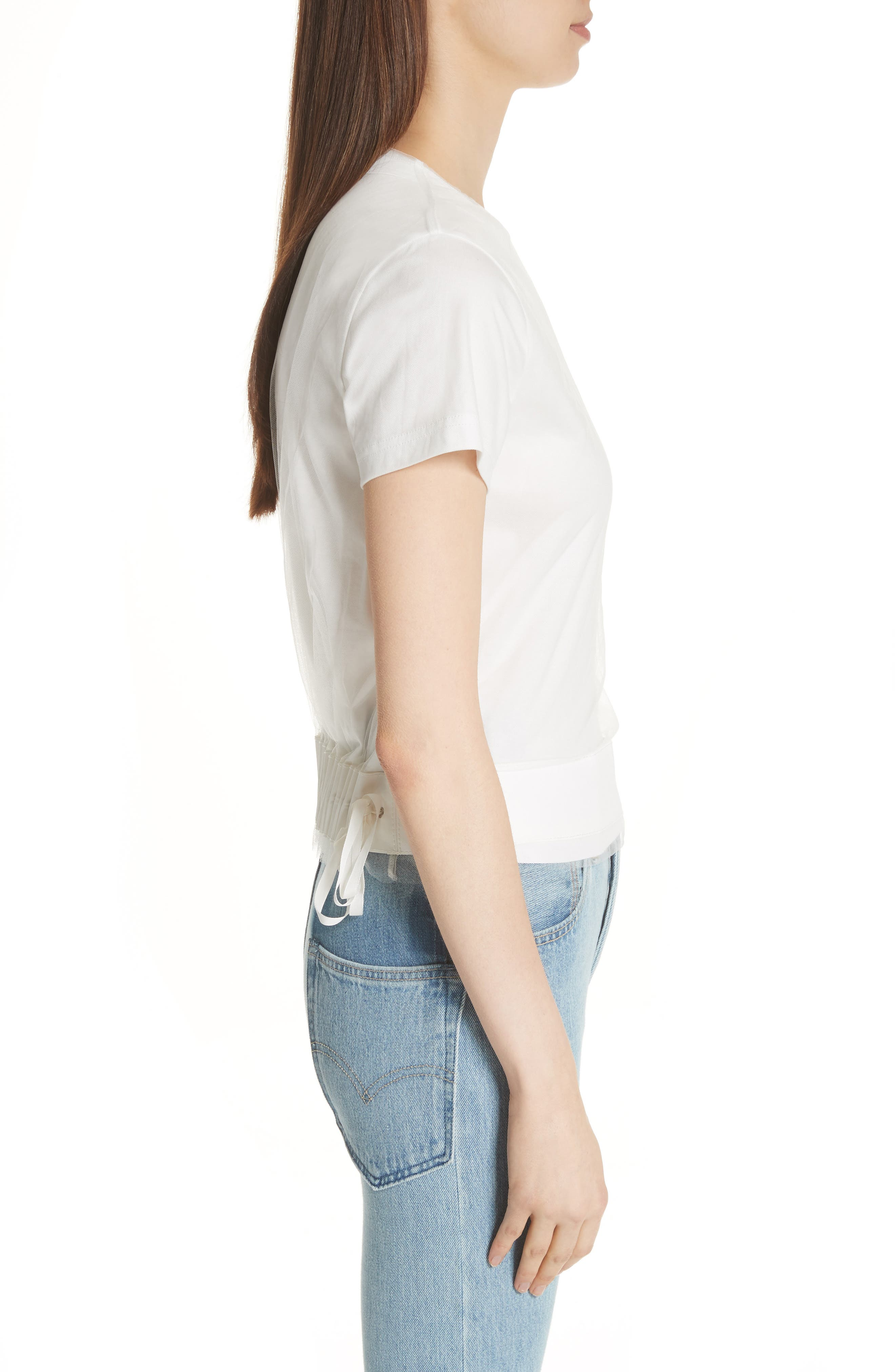 Tulle Back Tee,                             Alternate thumbnail 3, color,                             100