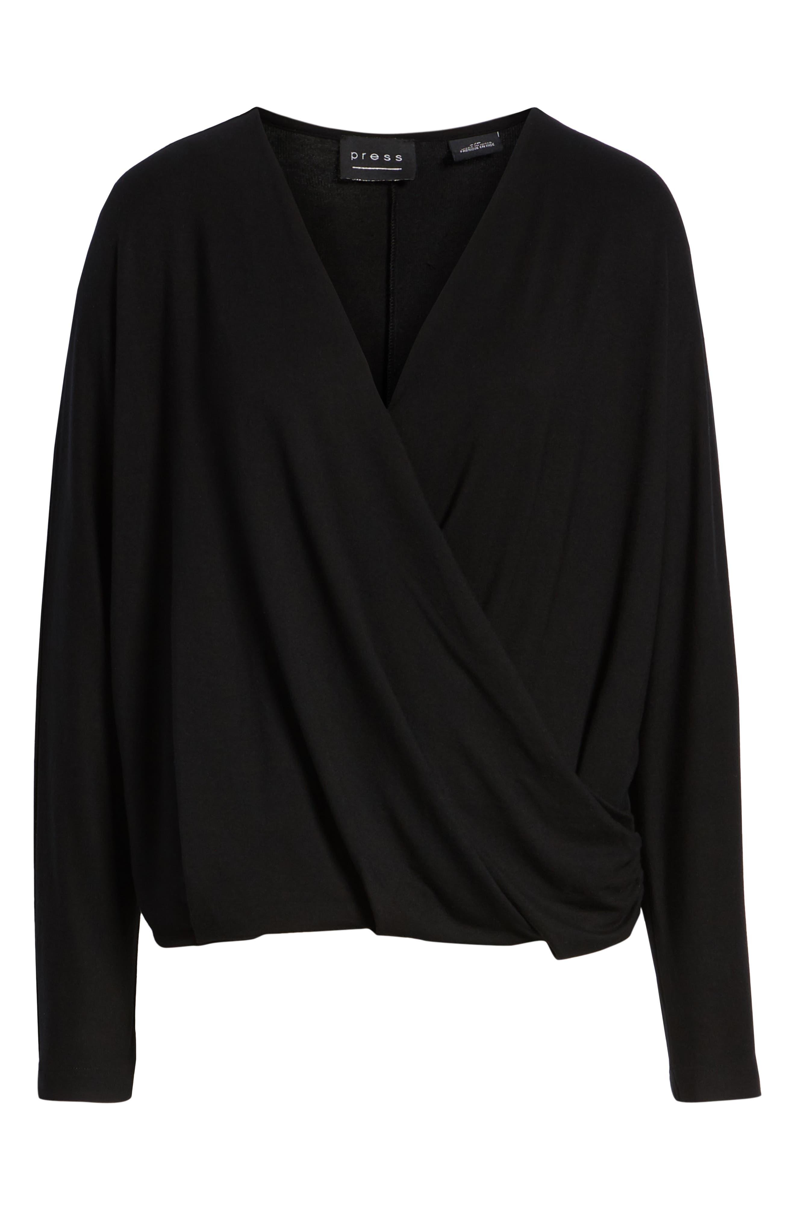 Drape Front Dolman Sleeve Top,                             Alternate thumbnail 6, color,                             BLACK
