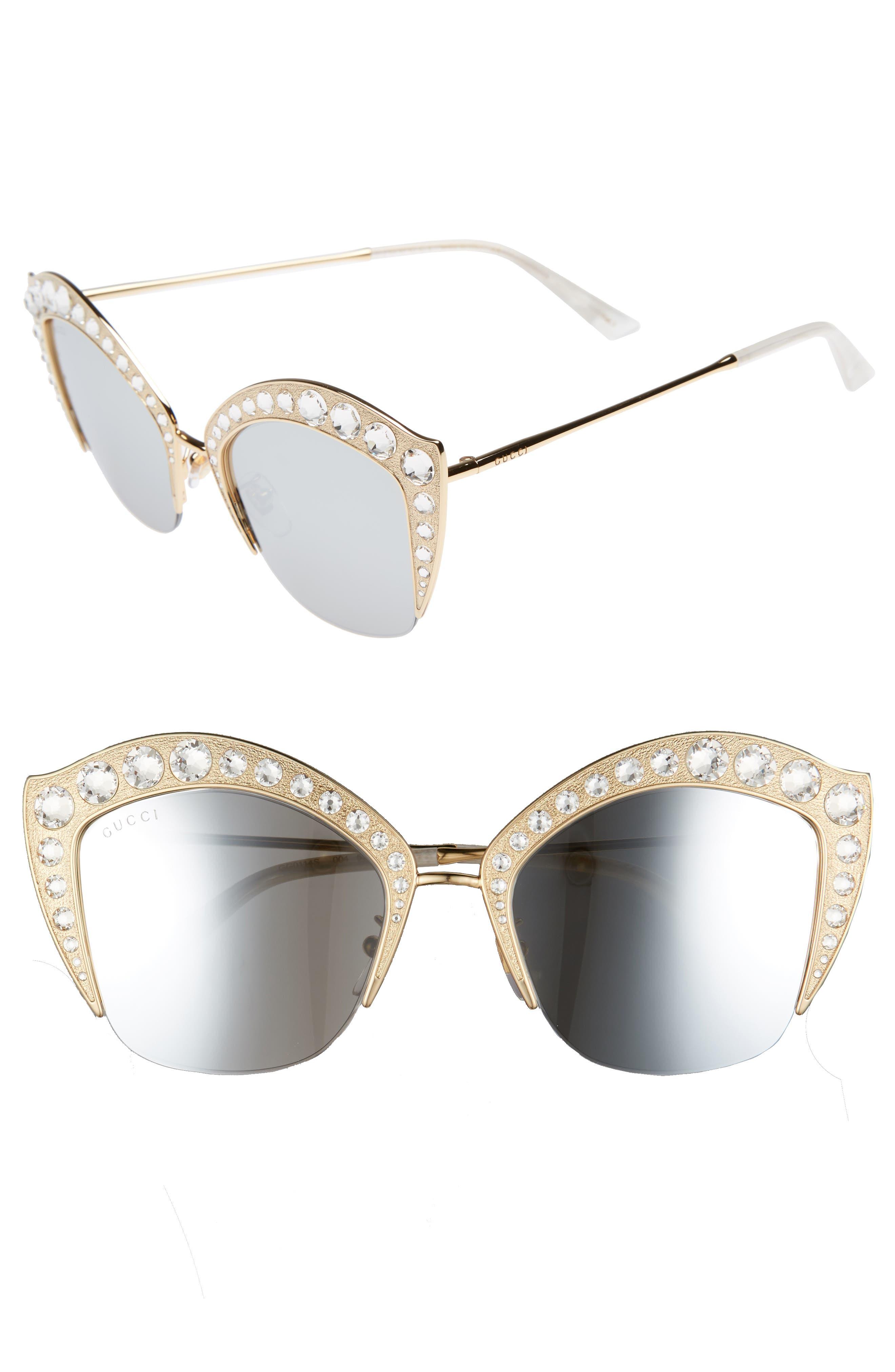53mm Embellished Cat Eye Sunglasses,                             Main thumbnail 2, color,